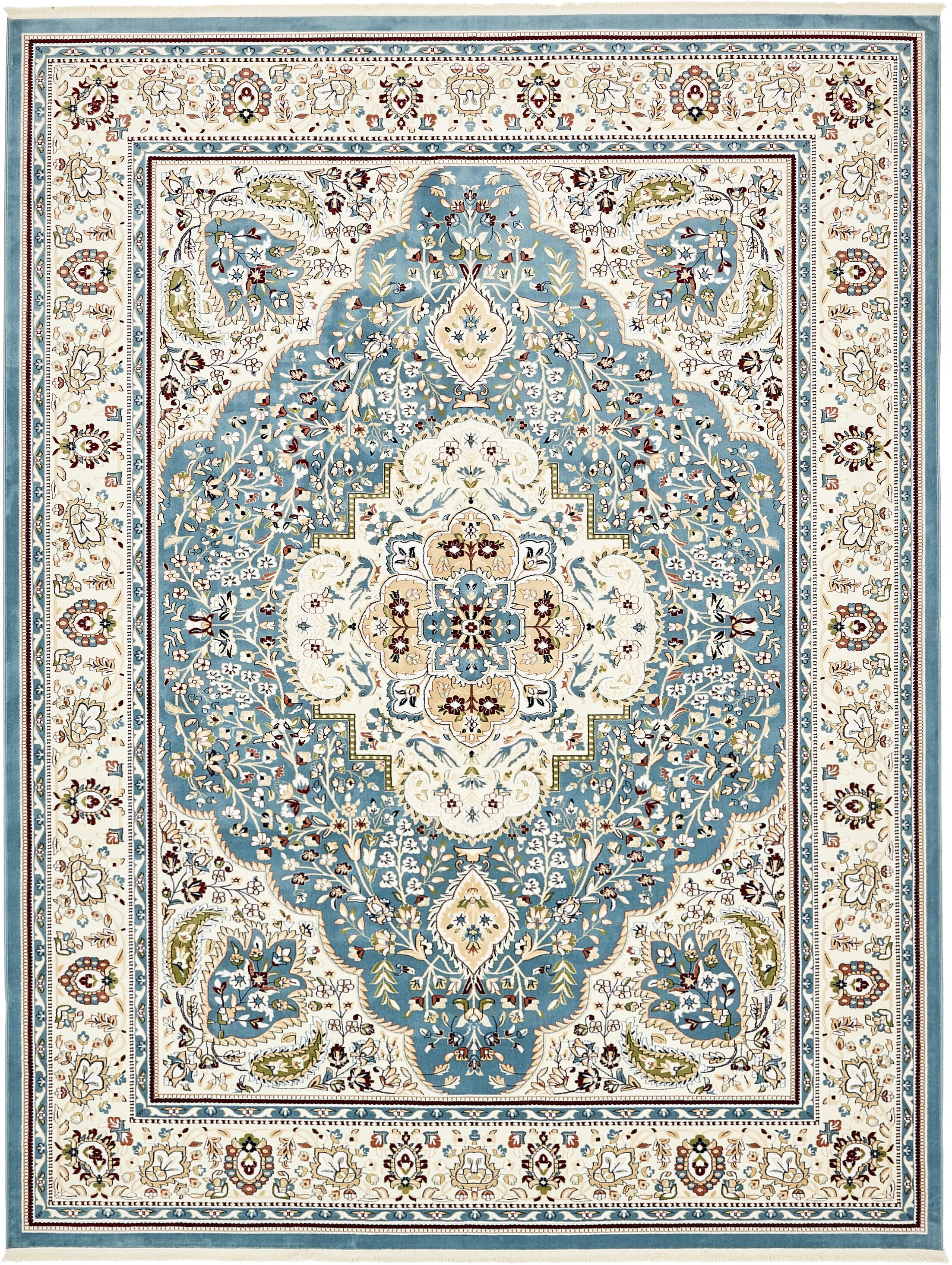 Quince Blue/Cream Area Rug Rug Size: Runner 3' x 13'
