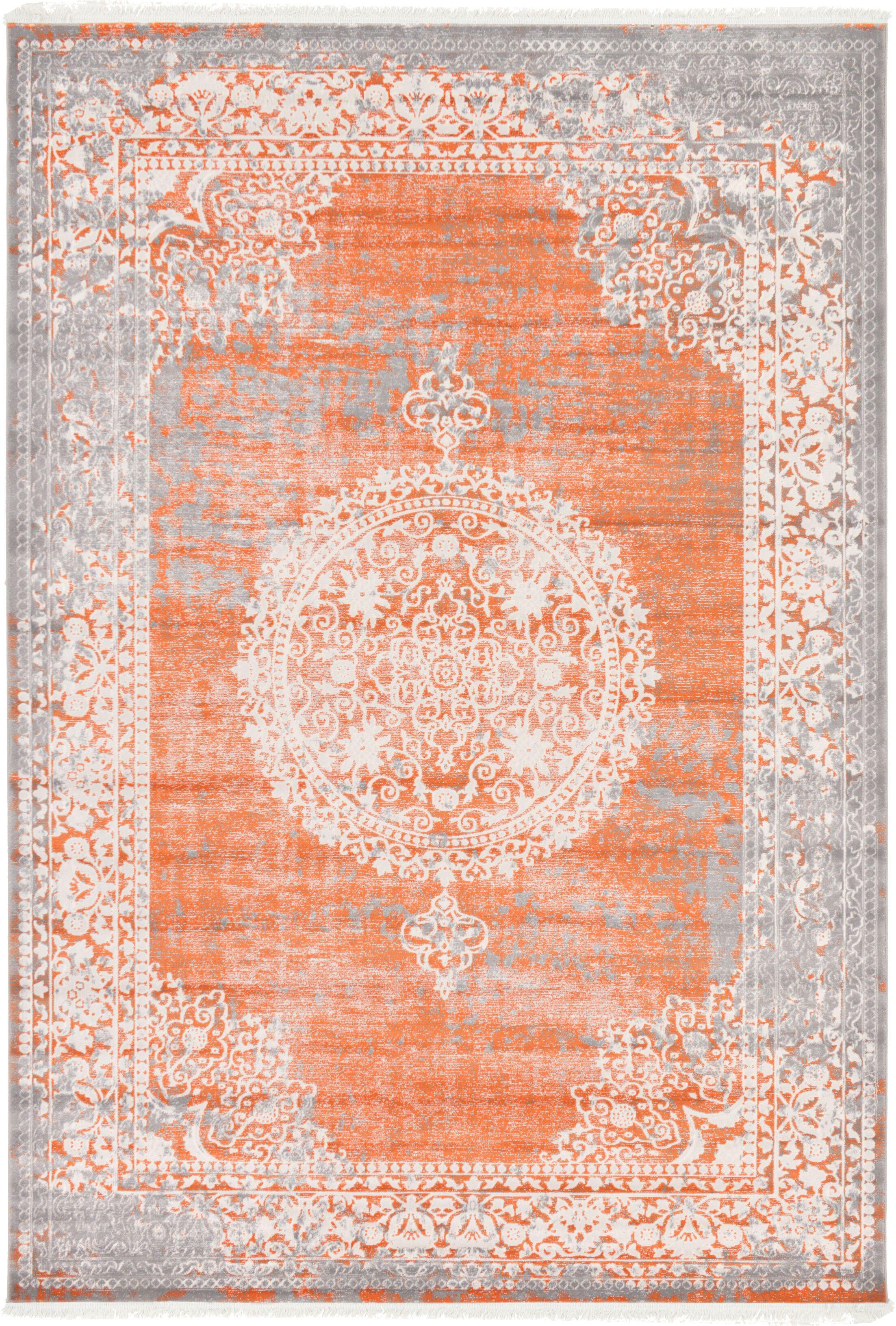 Colebrook Orange Area Rug Rug Size: Rectangle 7' x 10'