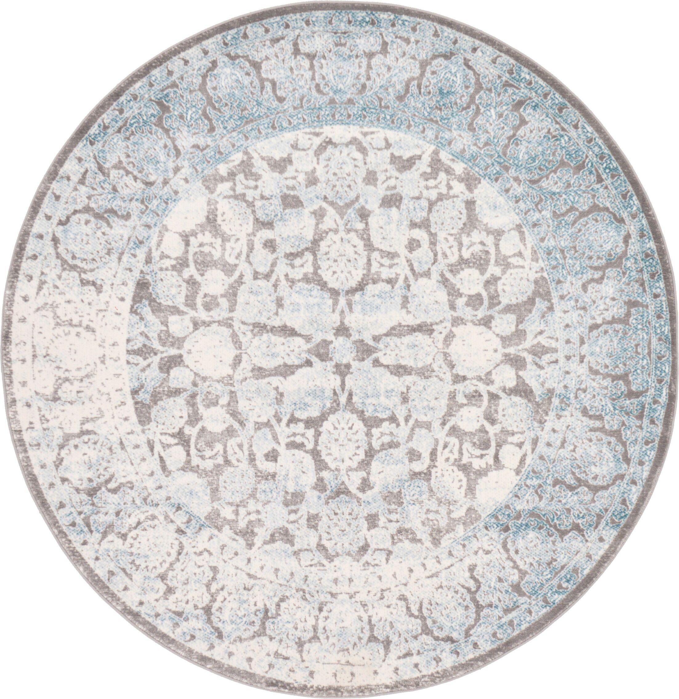 Patenaude Light Gray Oriental Area Rug Rug Size: Round 6'
