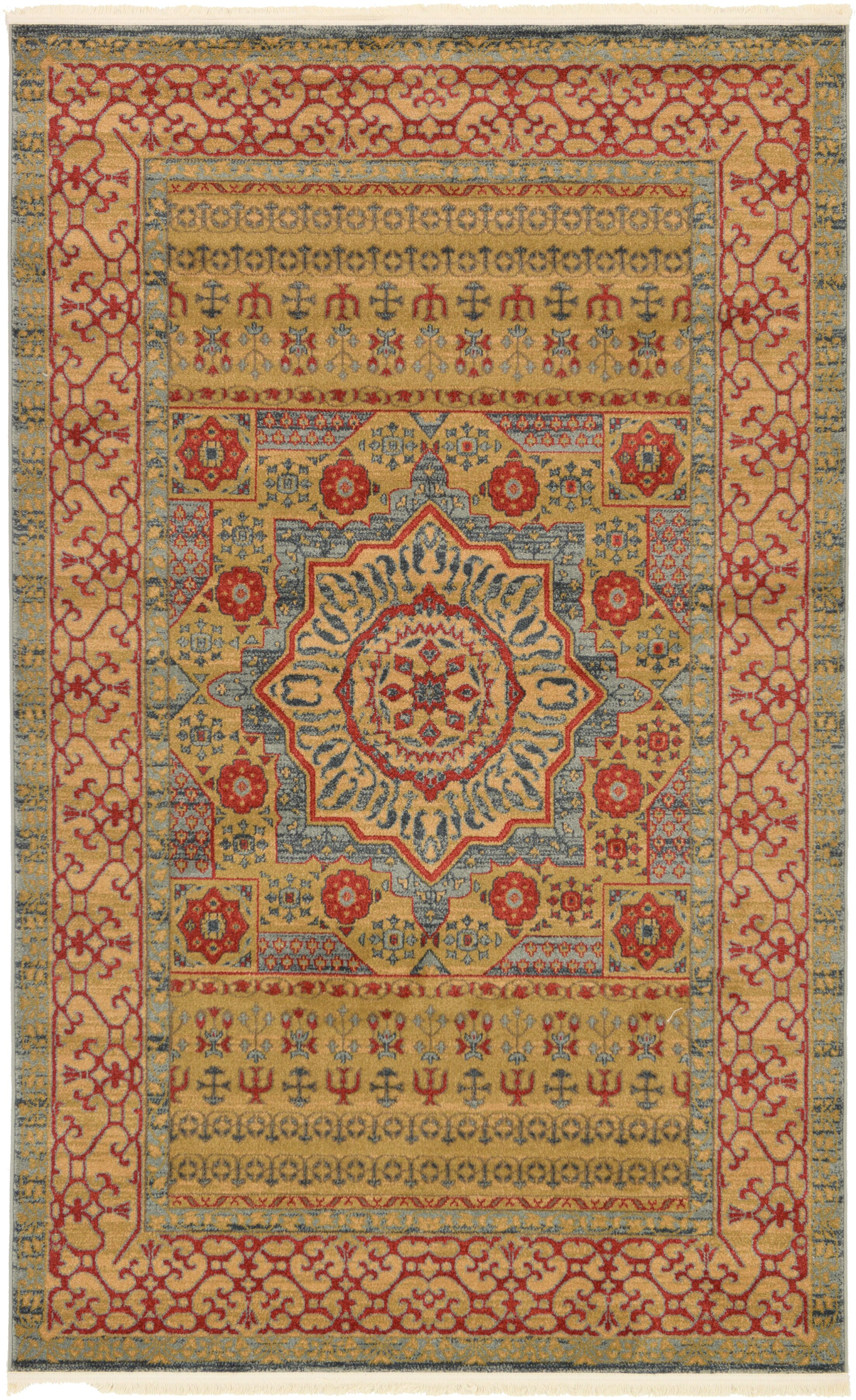Laurelwood Yellow/Red Area Rug Rug Size: Rectangle 5' x 8'