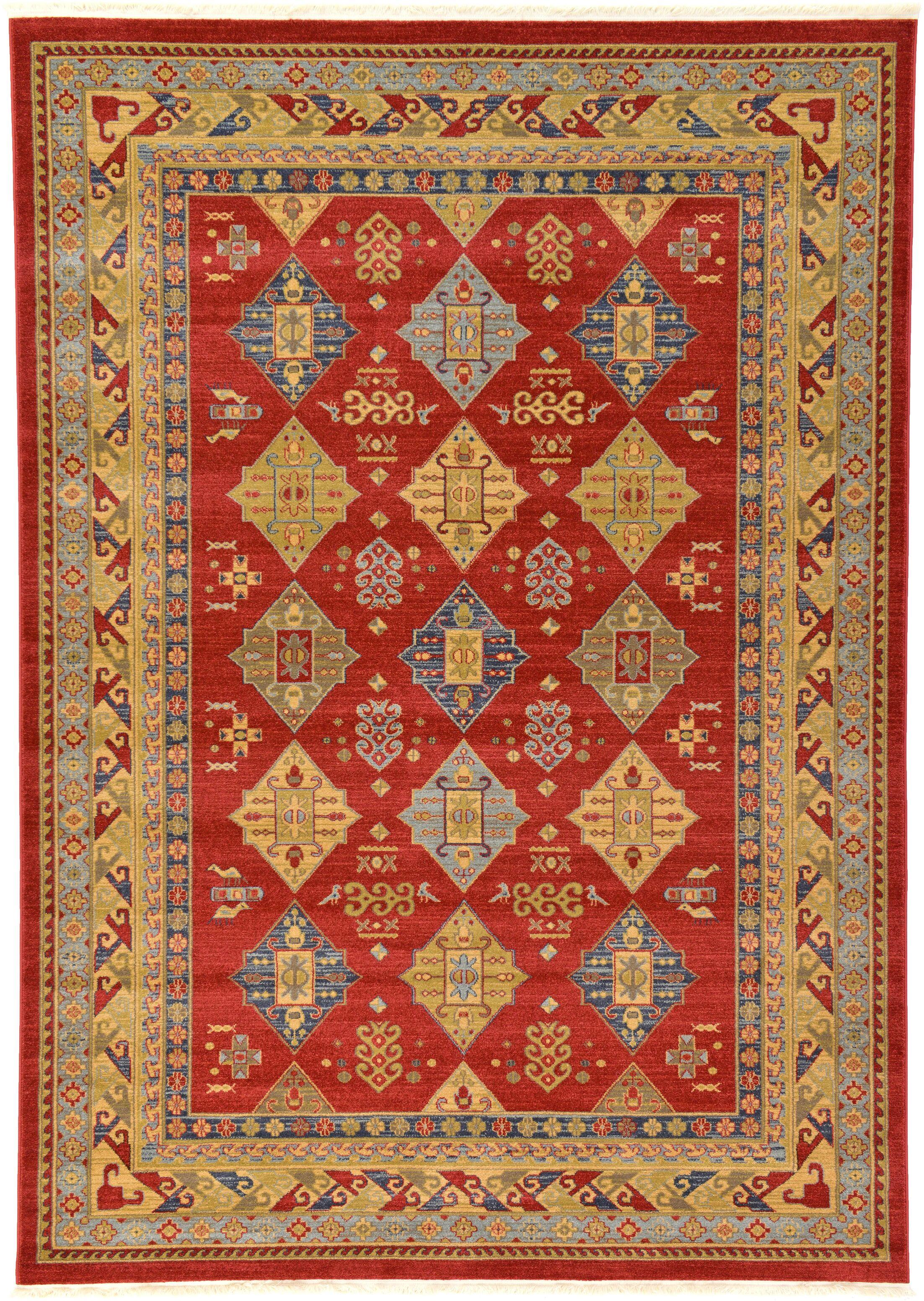 Jana Red Tibetan Area Rug Rug Size: Rectangle 7' x 10'
