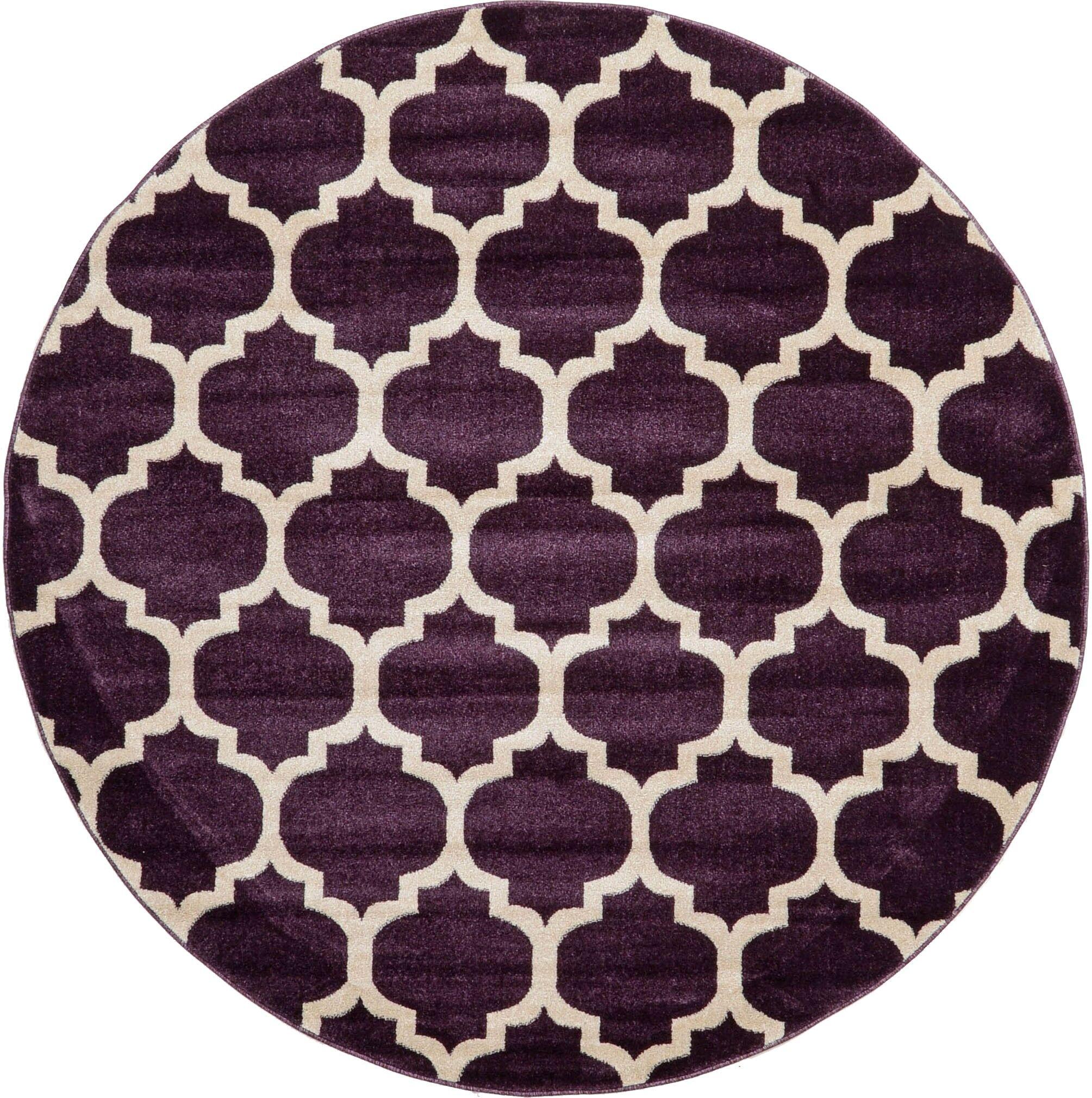 Moore Purple Area Rug Rug Size: Round 6'