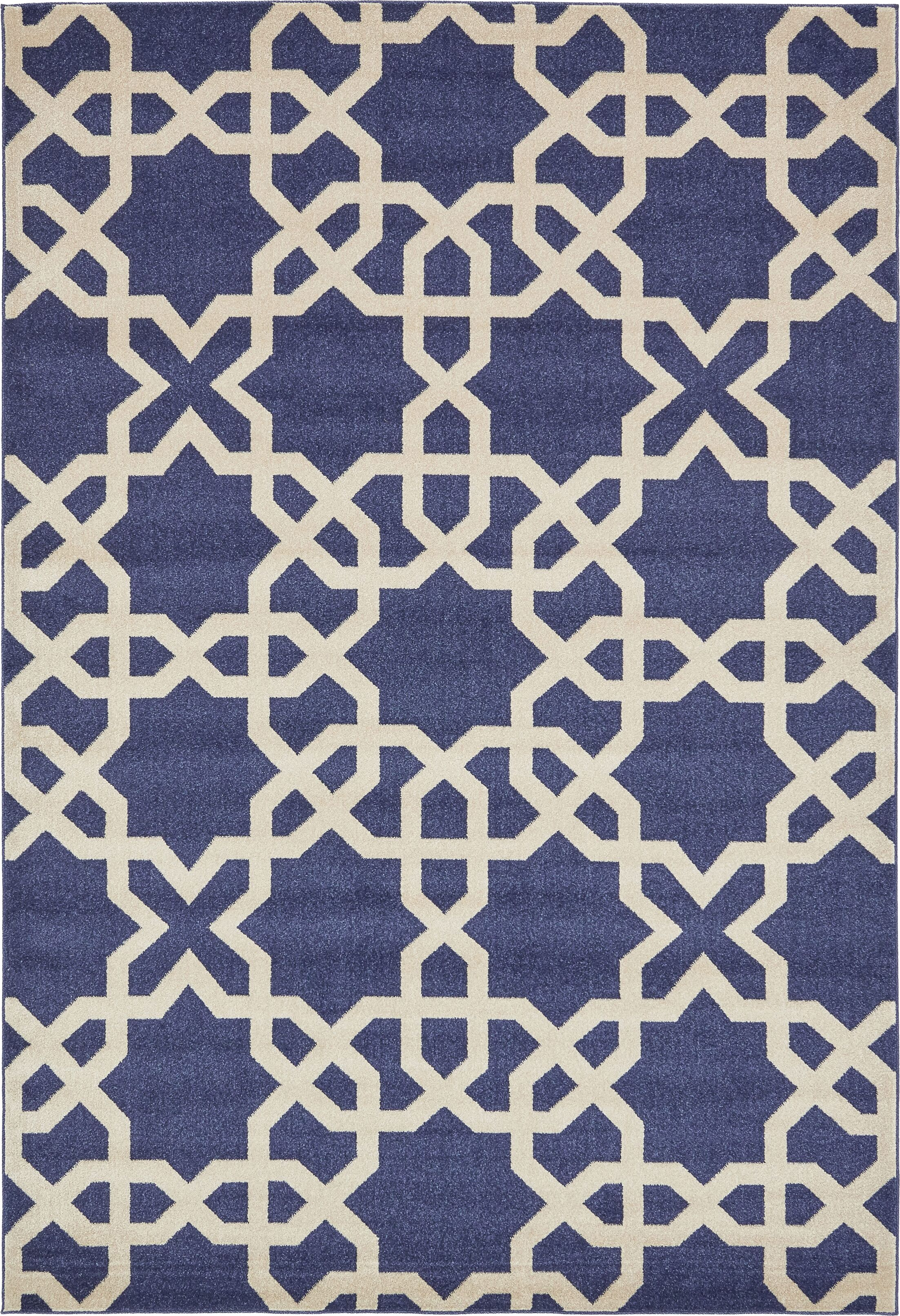 Moore Blue/Beige Area Rug Rug Size: Rectangle 7' x 10'