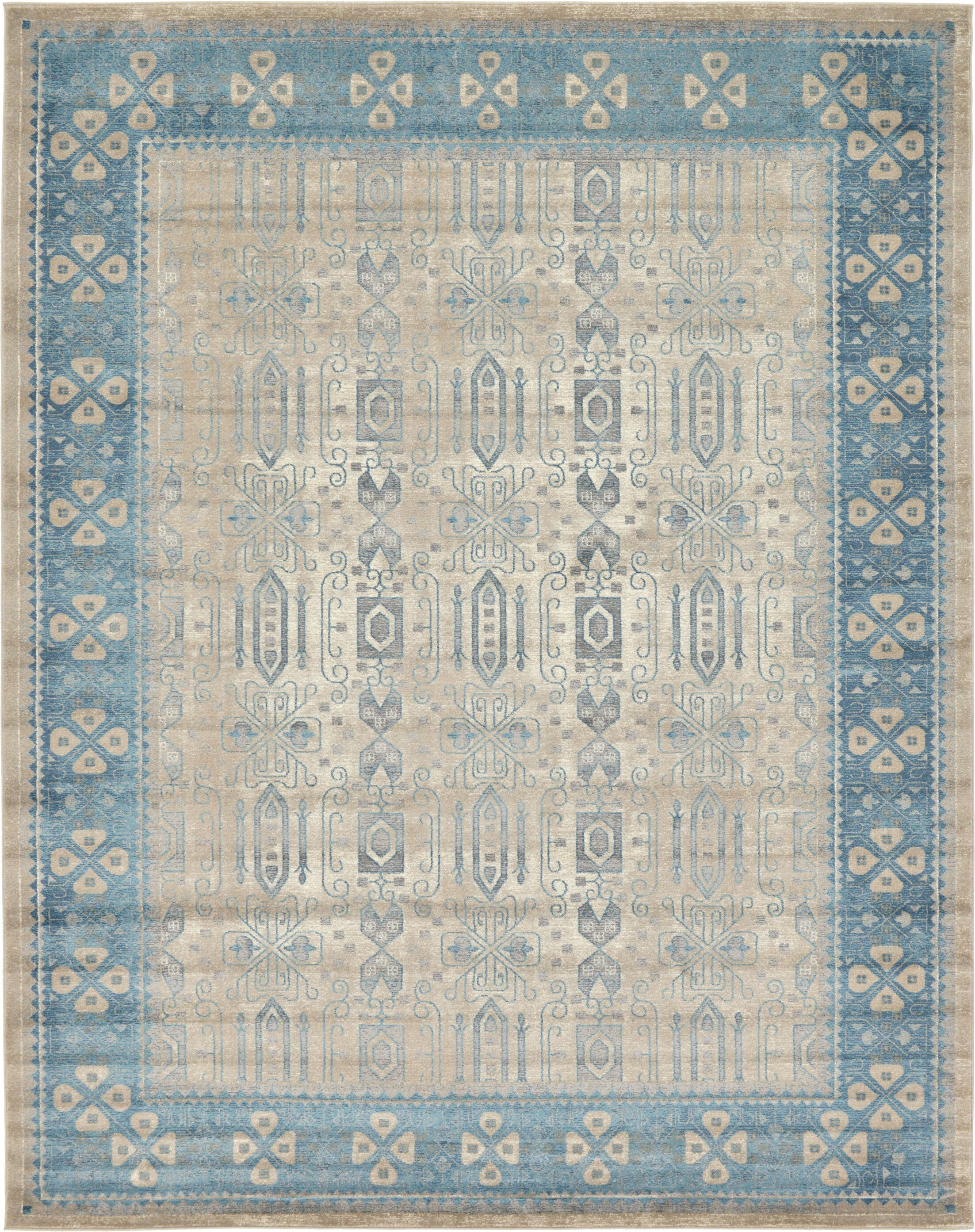 Brierfield Beige/Blue Area Rug Rug Size: Rectangle 10' x 13'