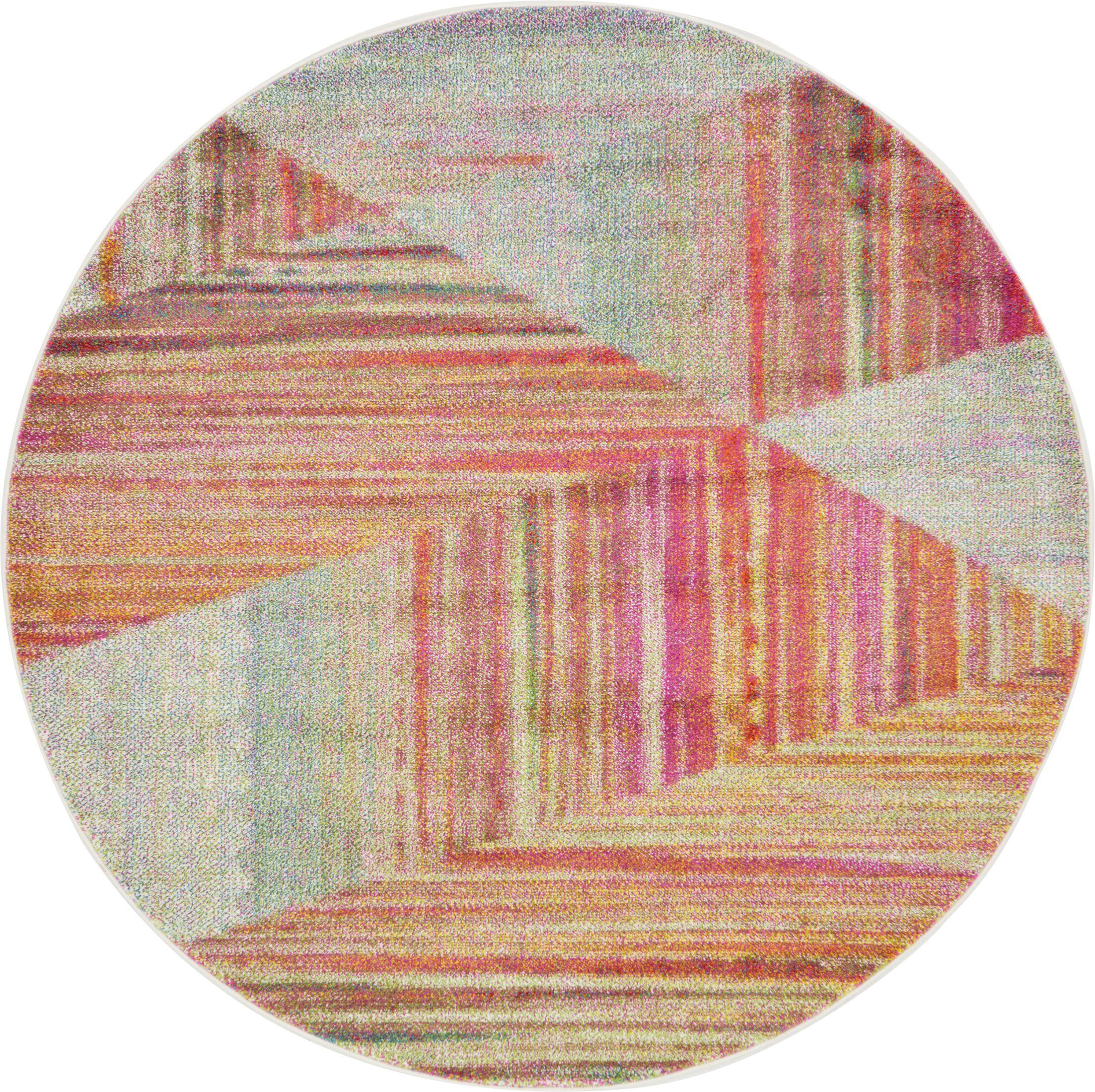 Aristomache Pink Area Rug Rug Size: Round 6'