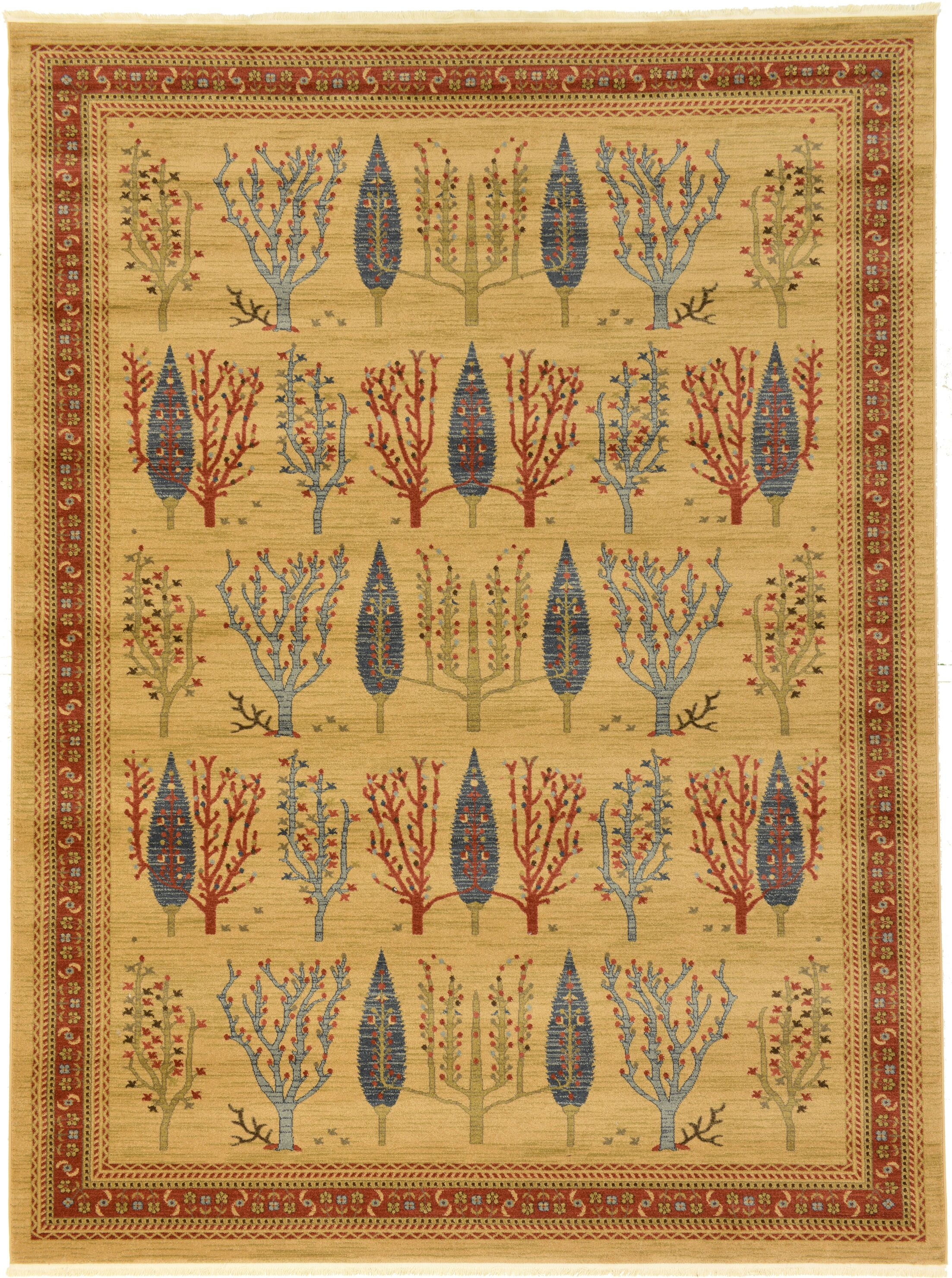 Virginia Mustard/Orange Area Rug Rug Size: Rectangle 9' x 12'