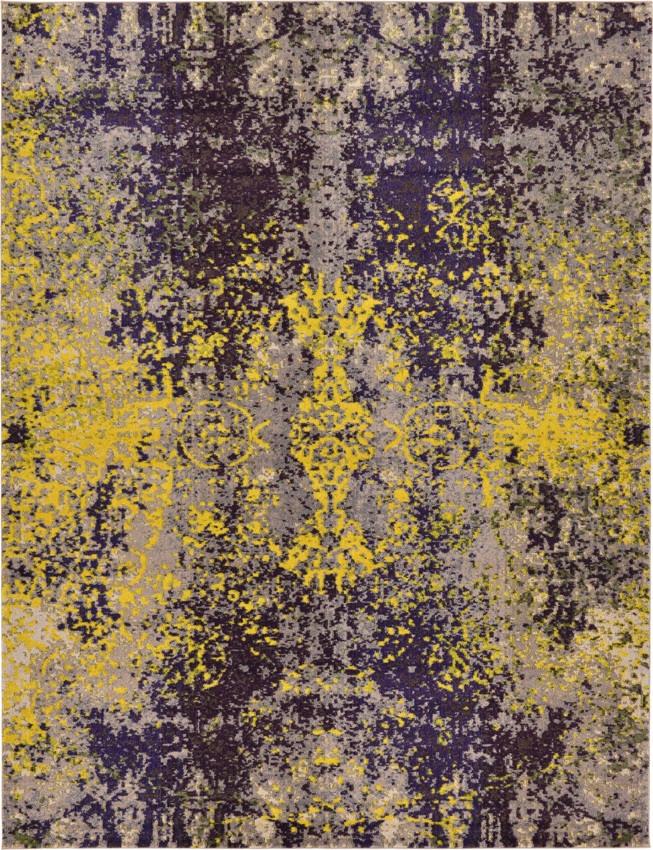Fujii Gray/Yellow Area Rug Rug Size: Rectangle 9' x 12'