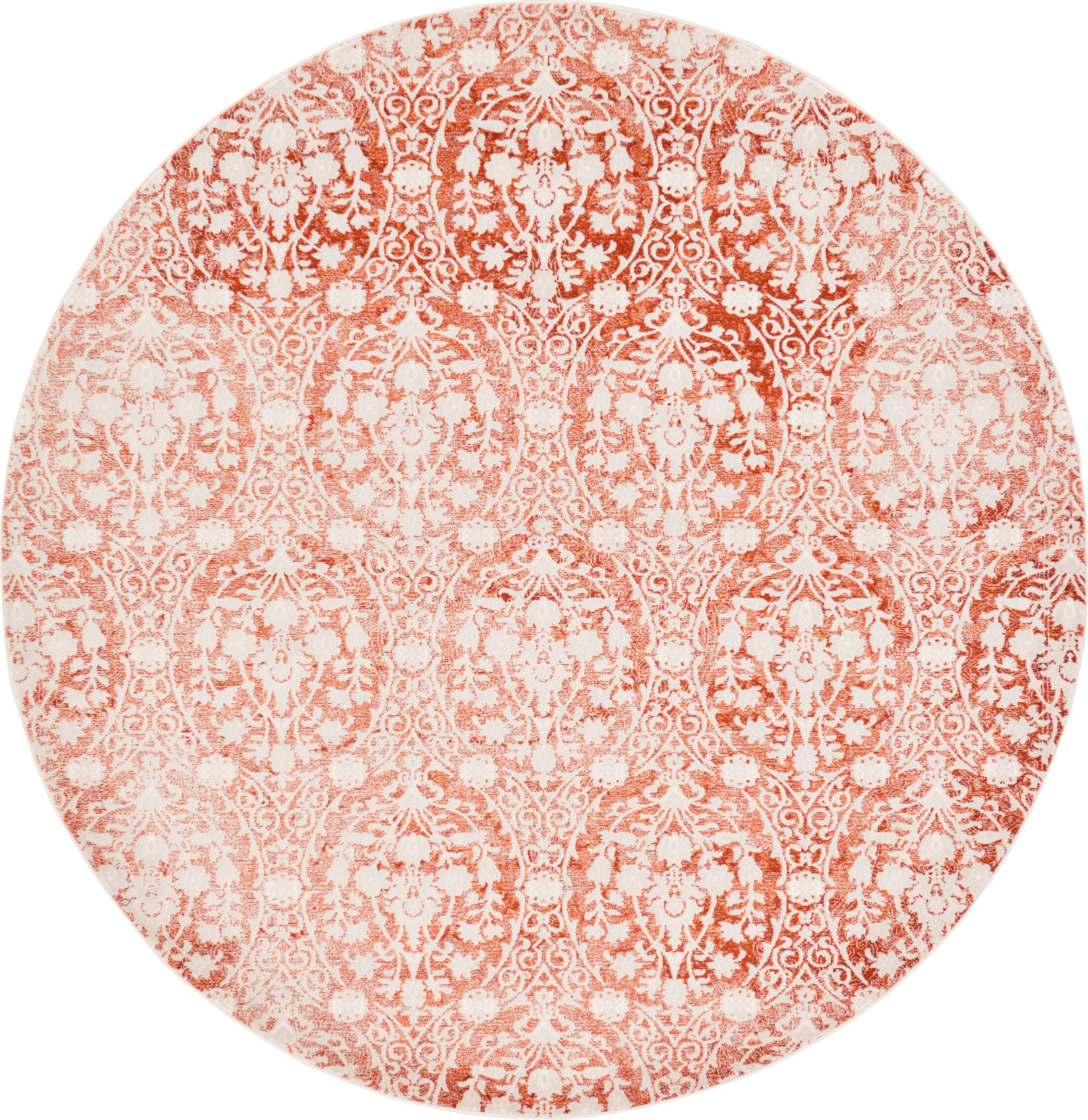 Patenaude Terracotta Area Rug Rug Size: Round 8'