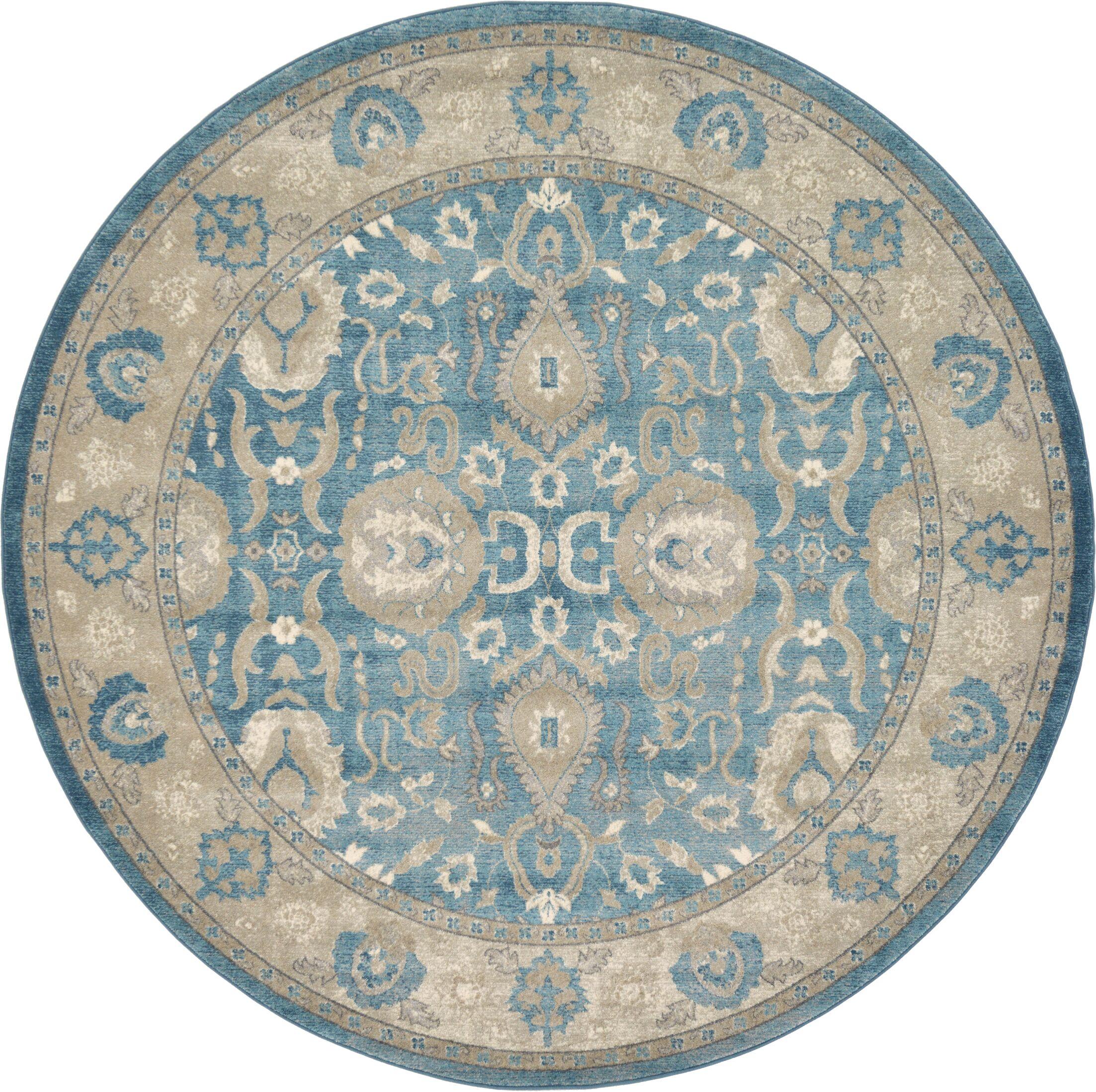 Basswood Light Blue Area Rug Rug Size: Round 8'