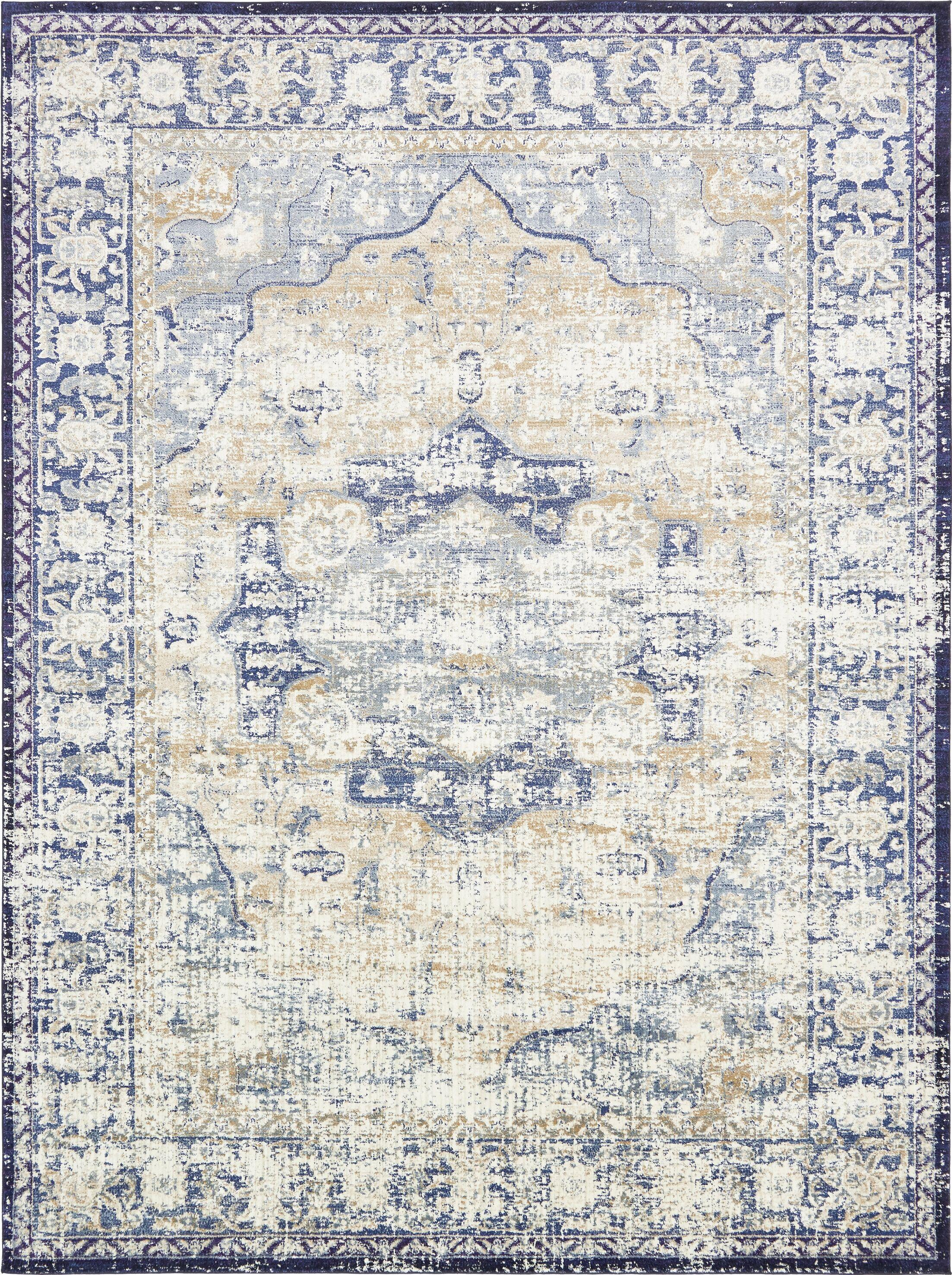 Koury Blue/Beige Area Rug Rug Size: Rectangle 10'6