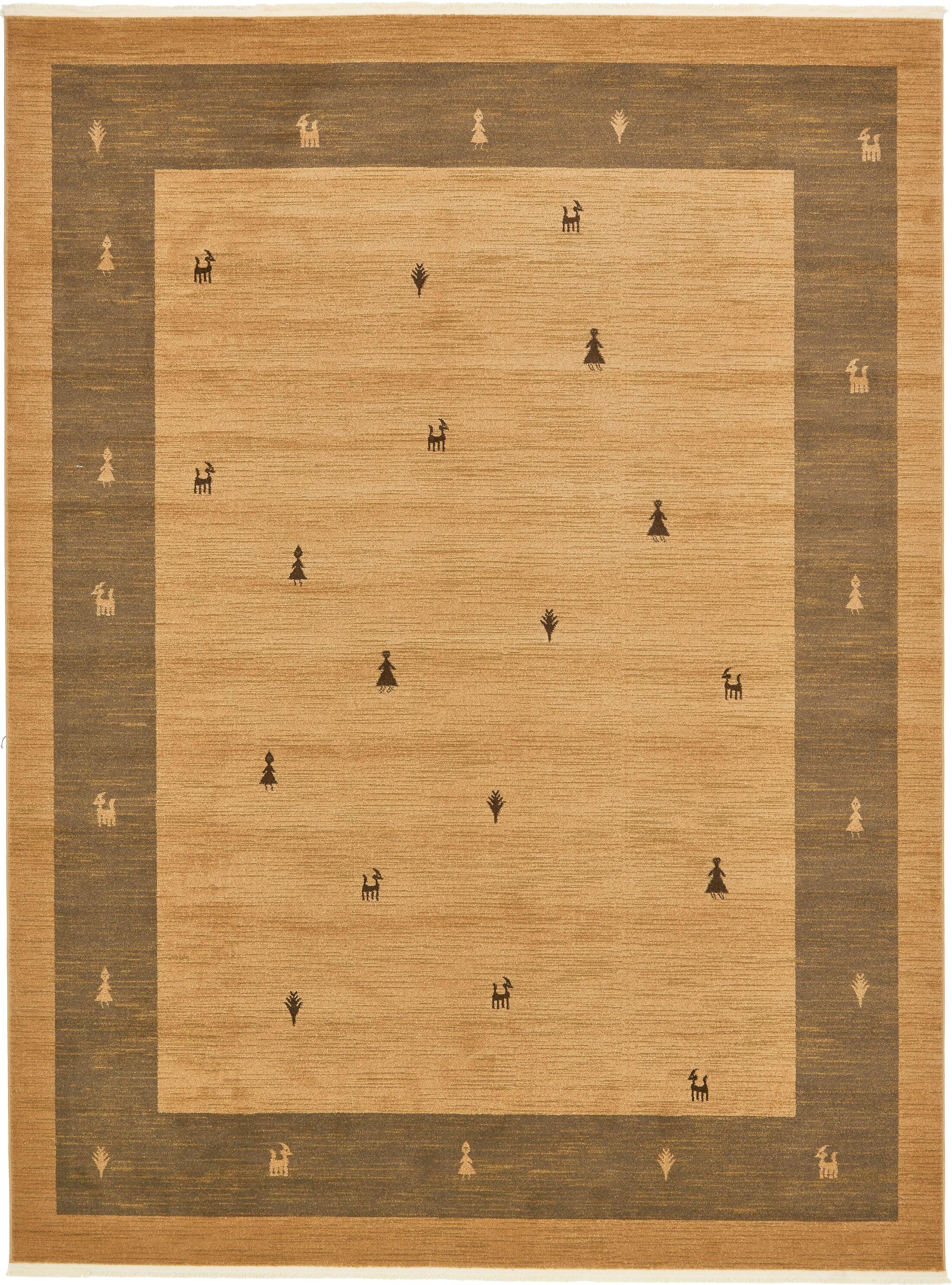 Jan Traditional Tan Area Rug Rug Size: Rectangle 10' x 13'