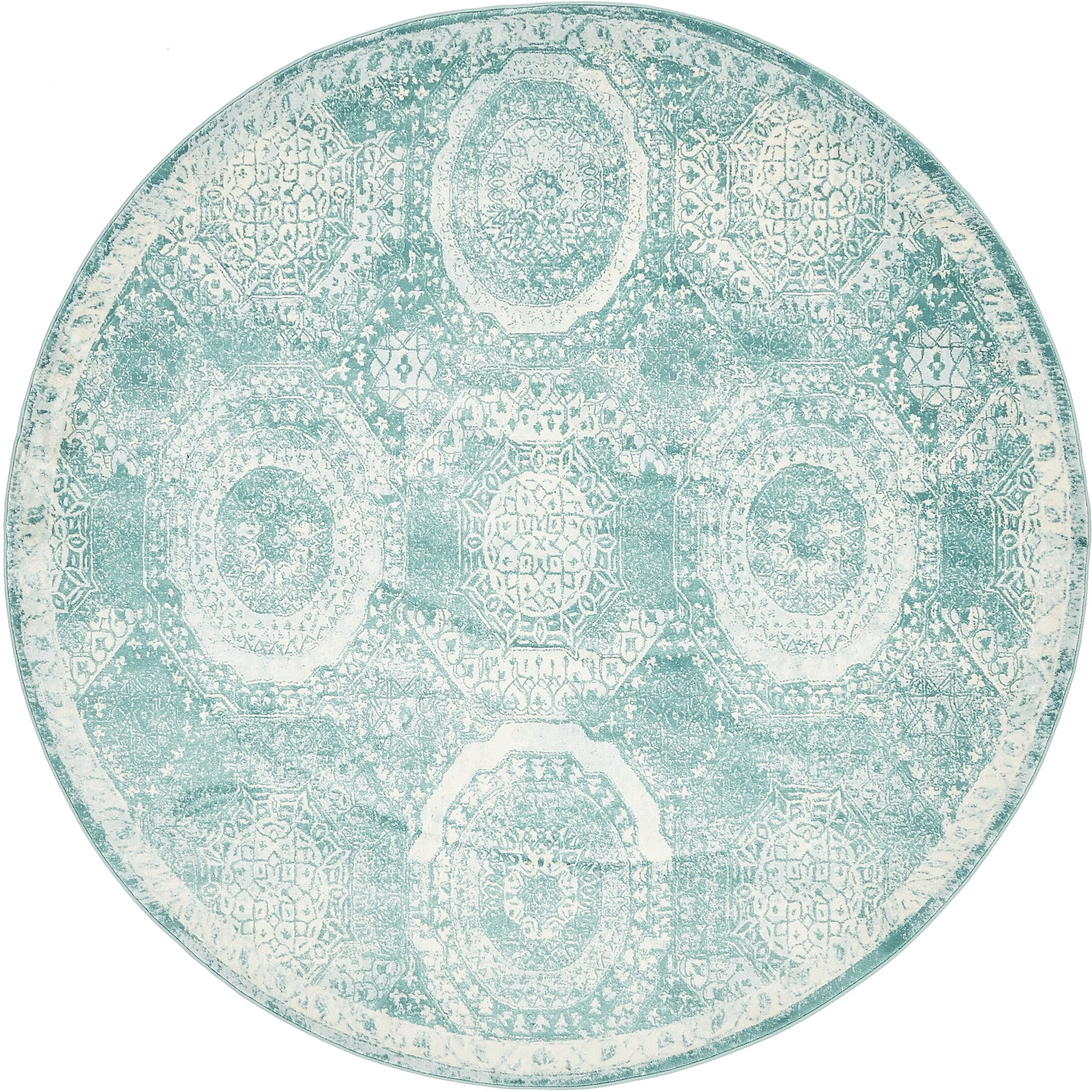 Sherrill Blue Area Rug Rug Size: Round 8'