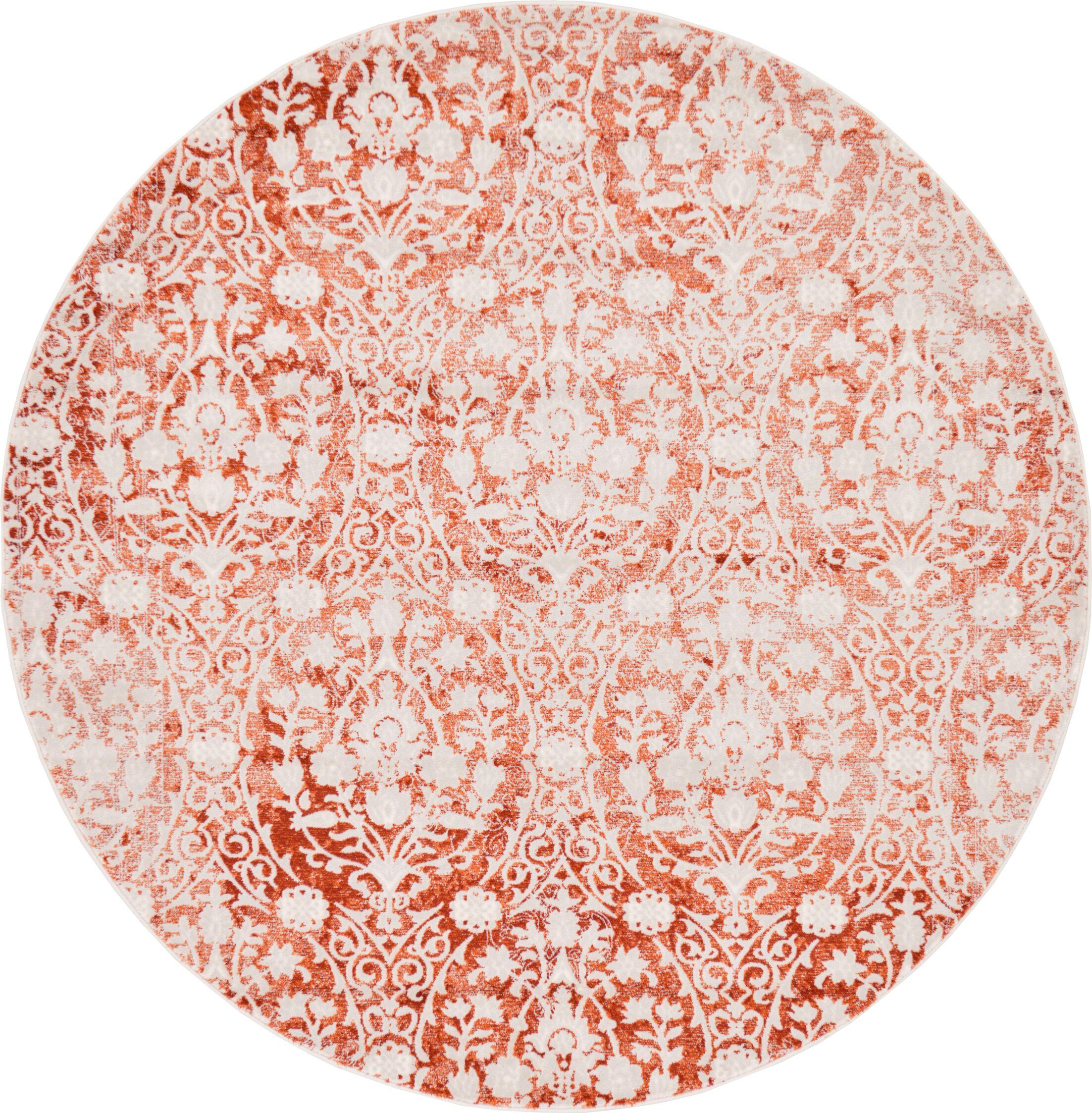 Patenaude Terracotta Area Rug Rug Size: Round 6'