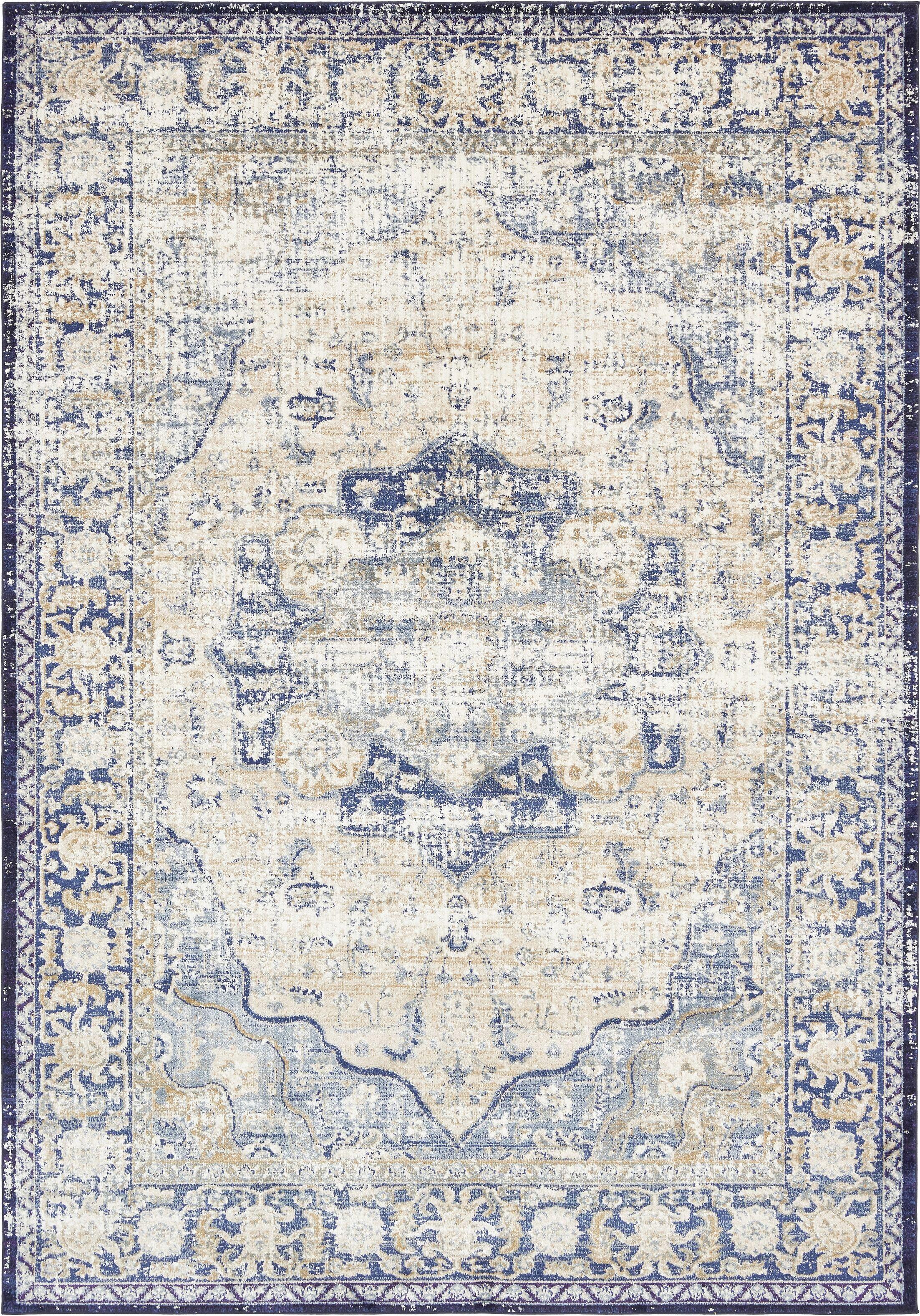 Koury Blue/Beige Area Rug Rug Size: Rectangle 7' x 10'