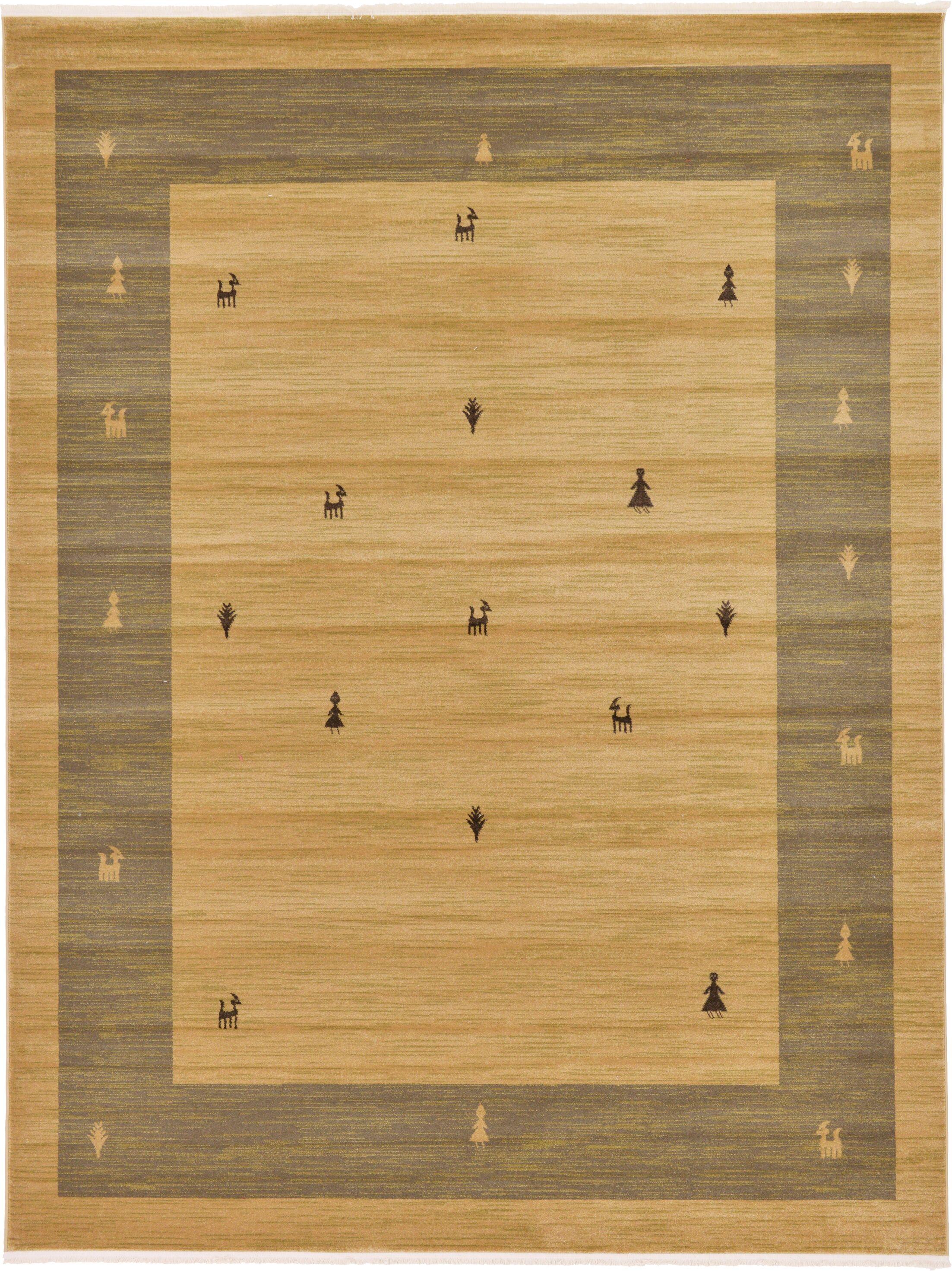 Jan Traditional Tan Area Rug Rug Size: Rectangle 9' x 12'
