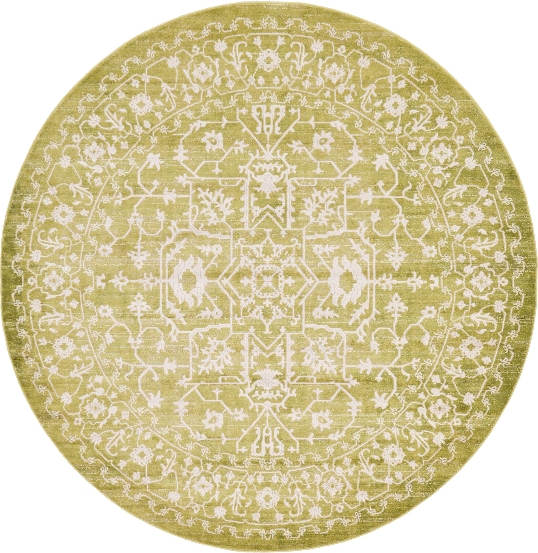 Bryant Tibetan Light Green Area Rug Rug Size: Round 8'