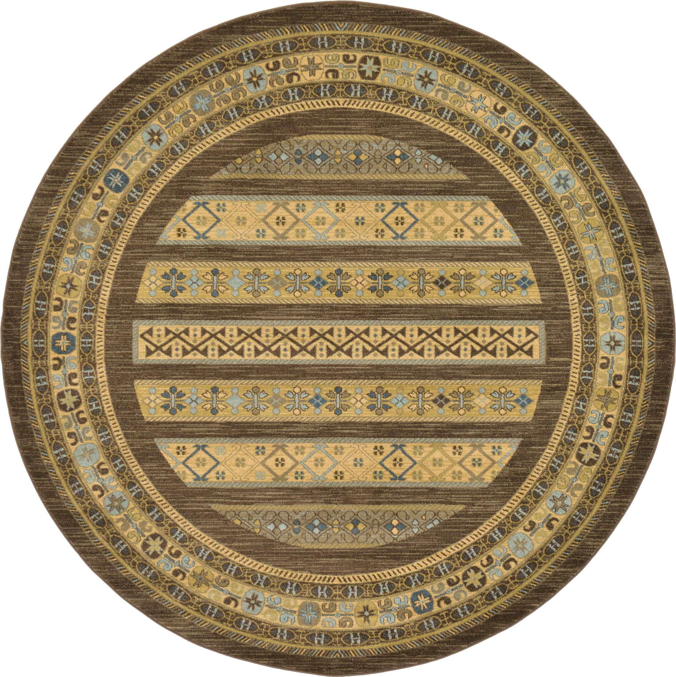 Foret Noire Brown Area Rug Rug Size: Round 8'