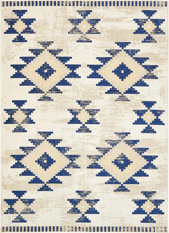 Bhakta Ivory/Navy Blue Area Rug Rug Size: Rectangle 7' x 10'