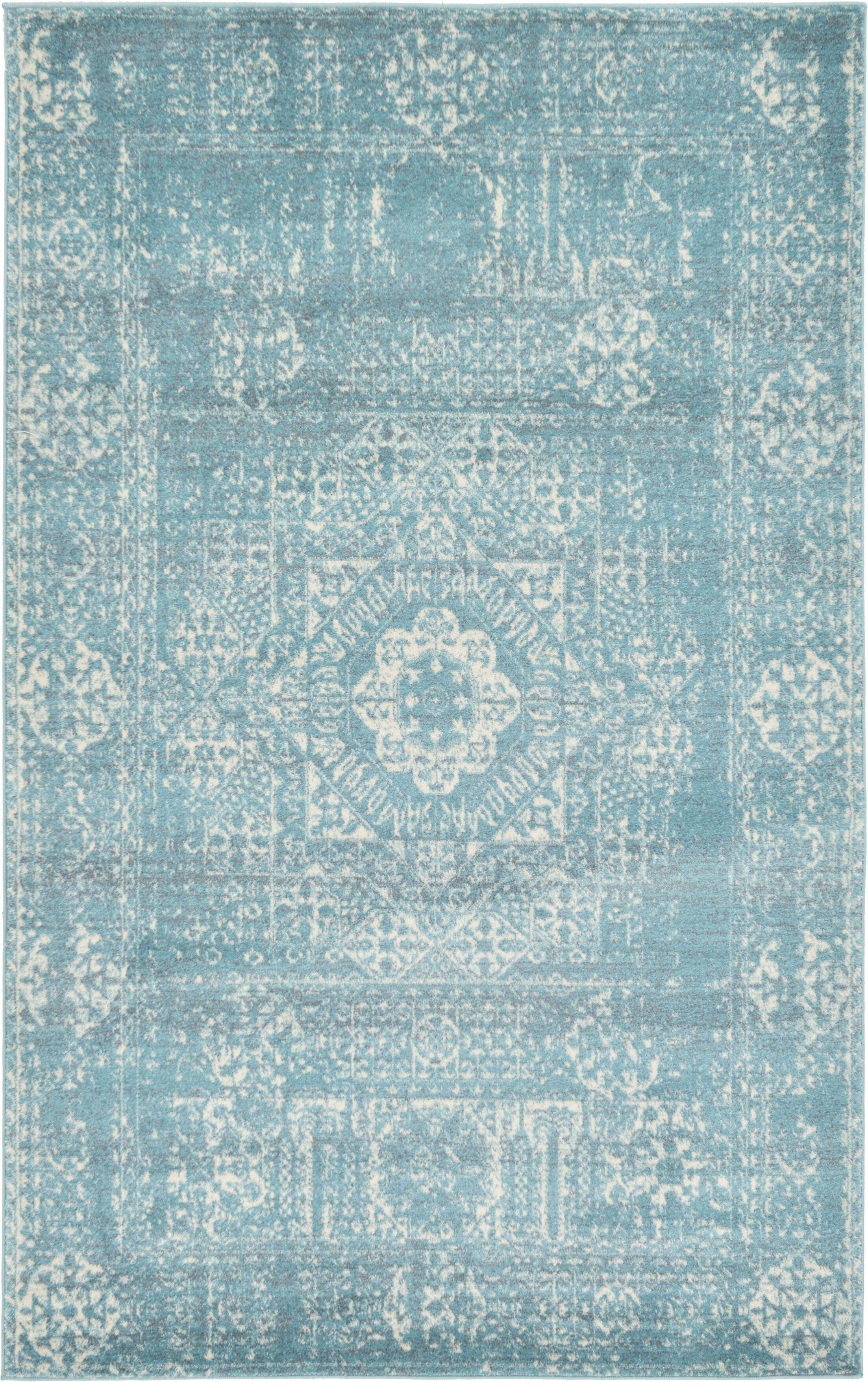 Delgado Brook Light Blue Area Rug Rug Size: Rectangle 5' x 8'