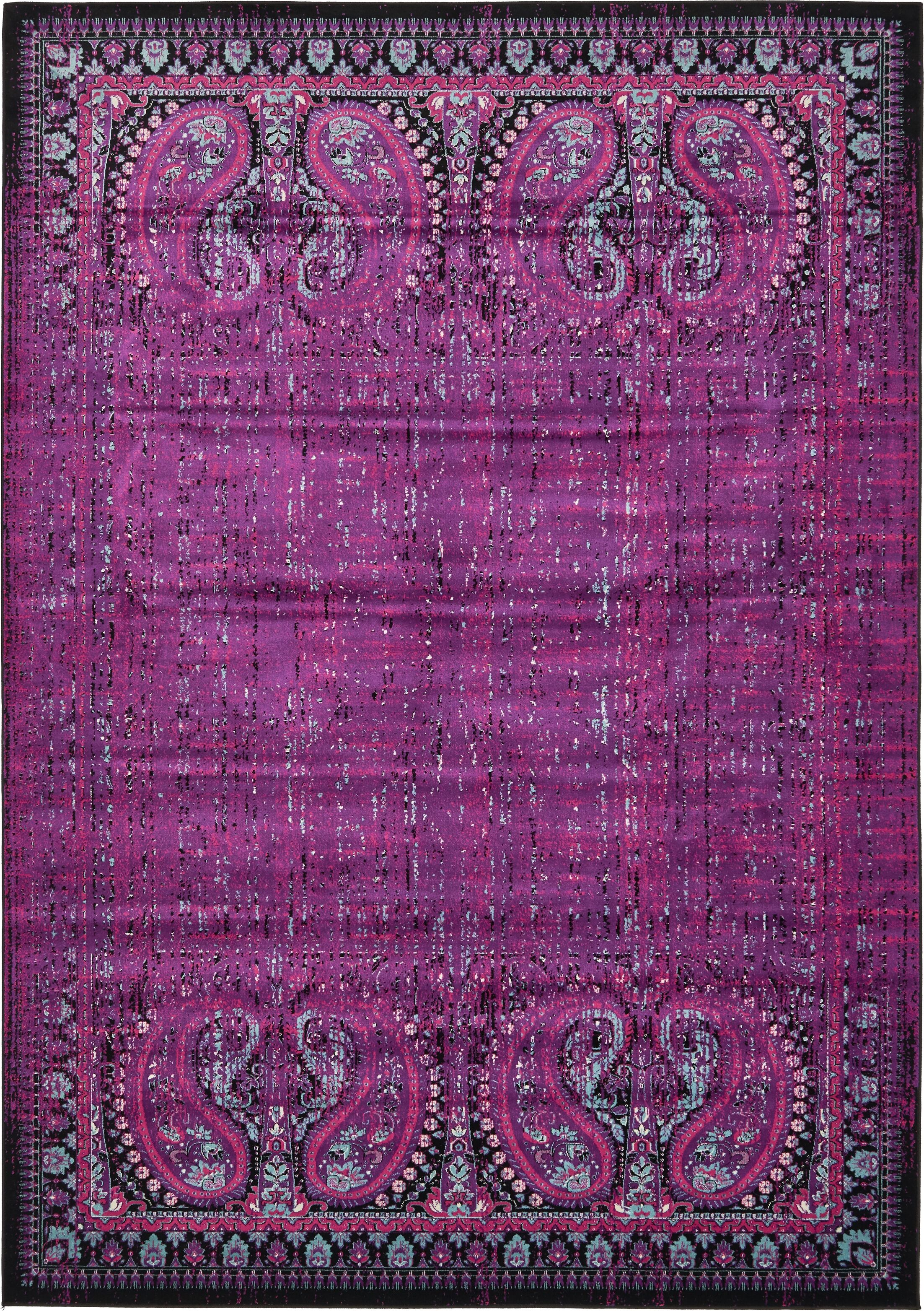 Neuilly Lilac/Black Area Rug Rug Size: Rectangle 8' x 11'6