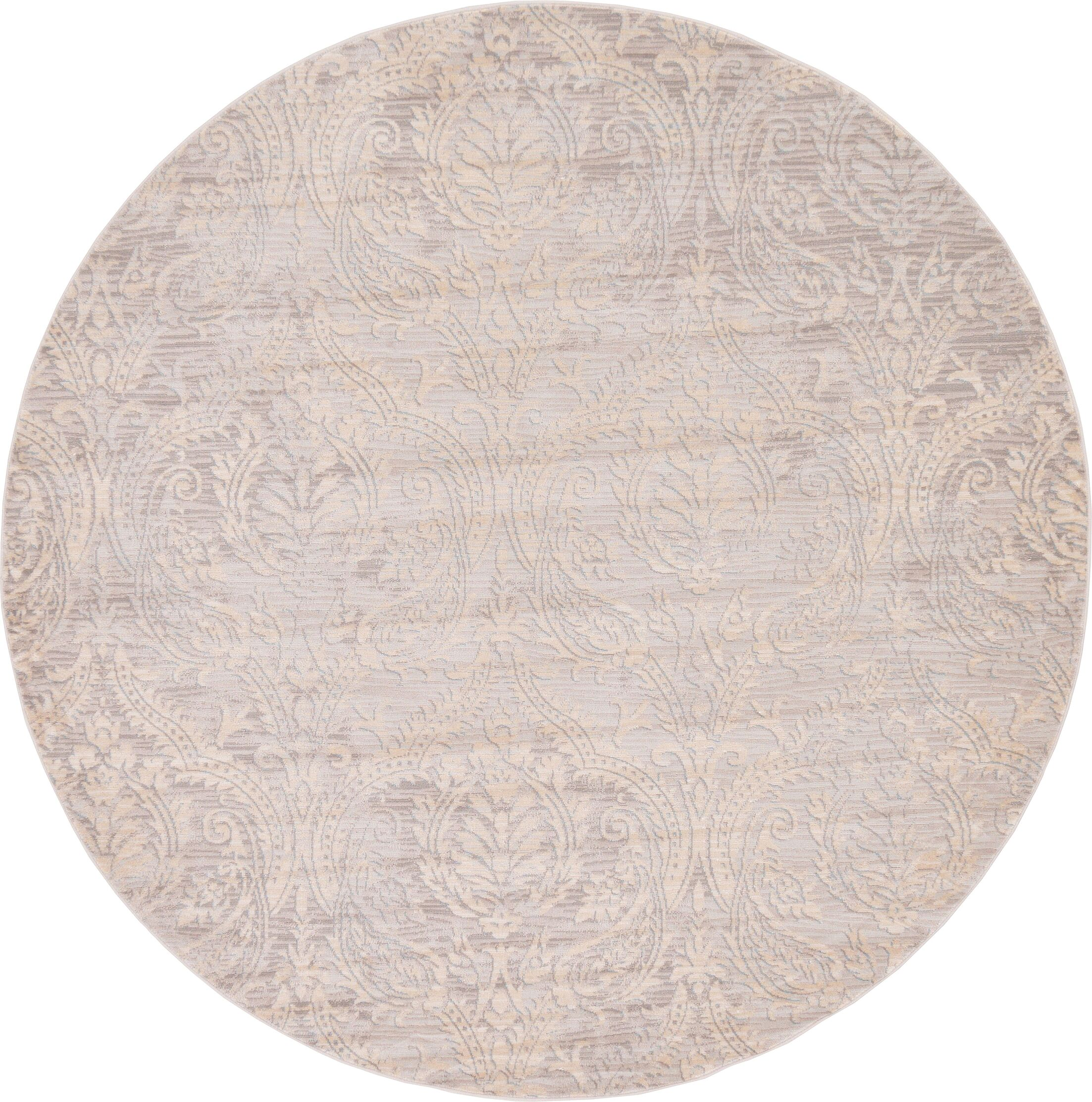 Pellham Gray Area Rug Rug Size: Round 6'