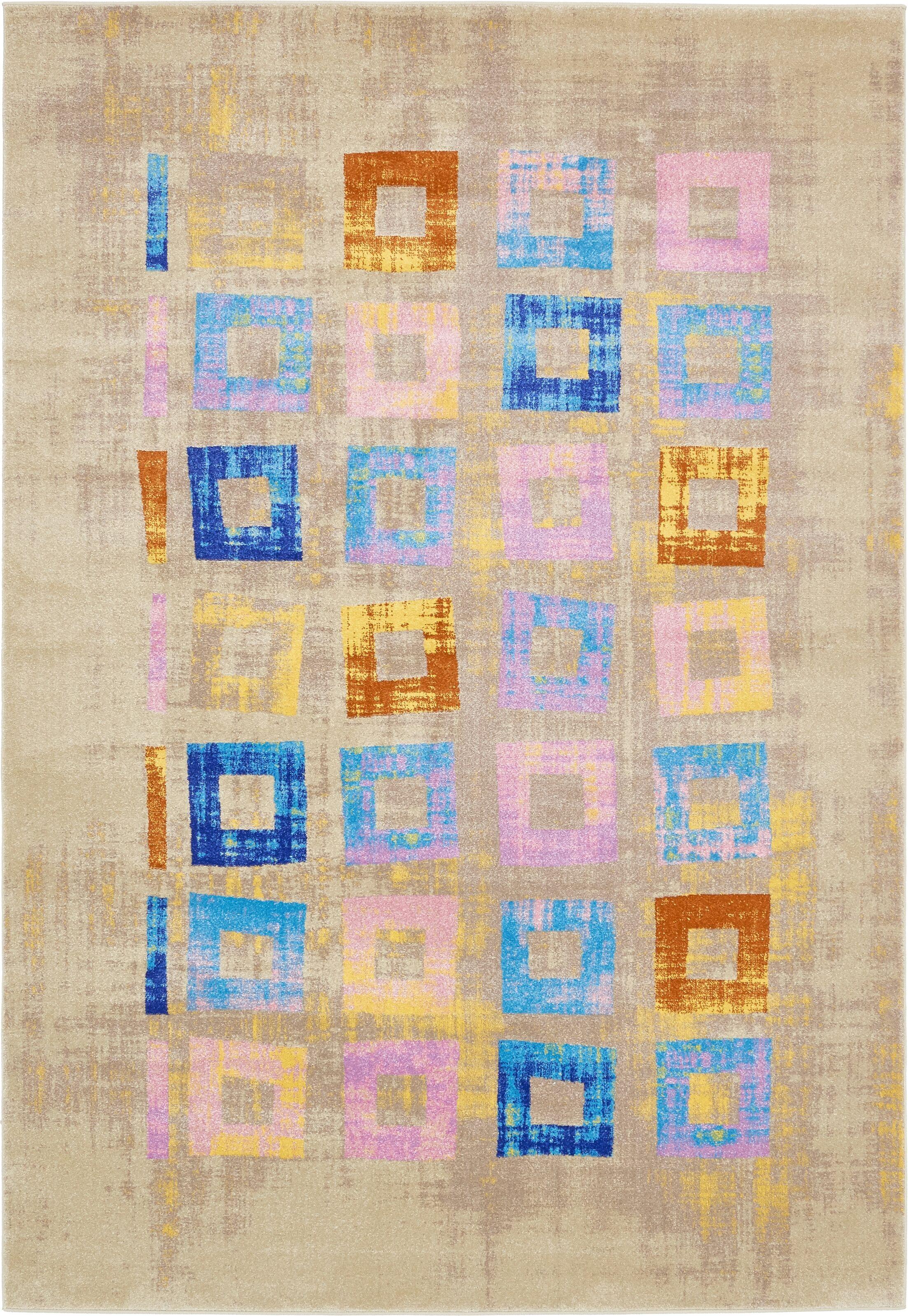 Annisville Beige/Blue Area Rug Rug Size: Rectangle 7' x 10'
