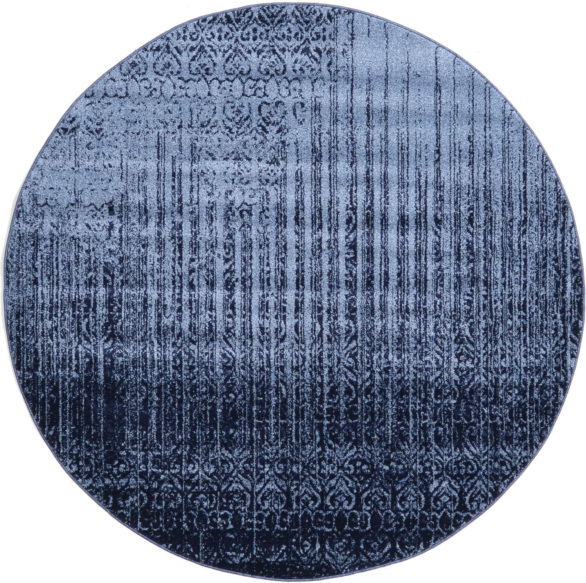 Dungan Blue Area Rug Rug Size: Round 6.1'