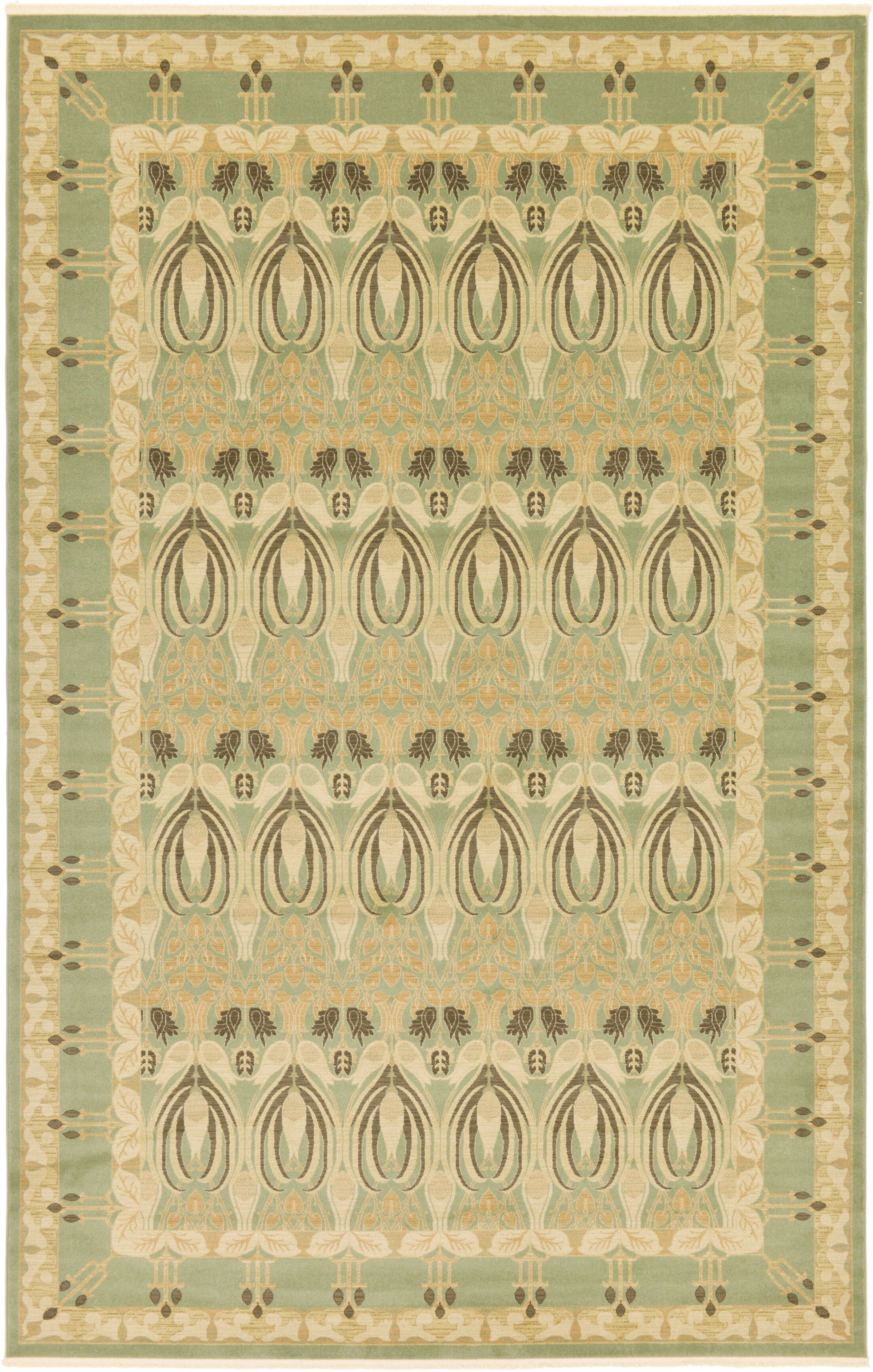 Britley Light Green/Beige Area Rug Rug Size: Rectangle 10'6