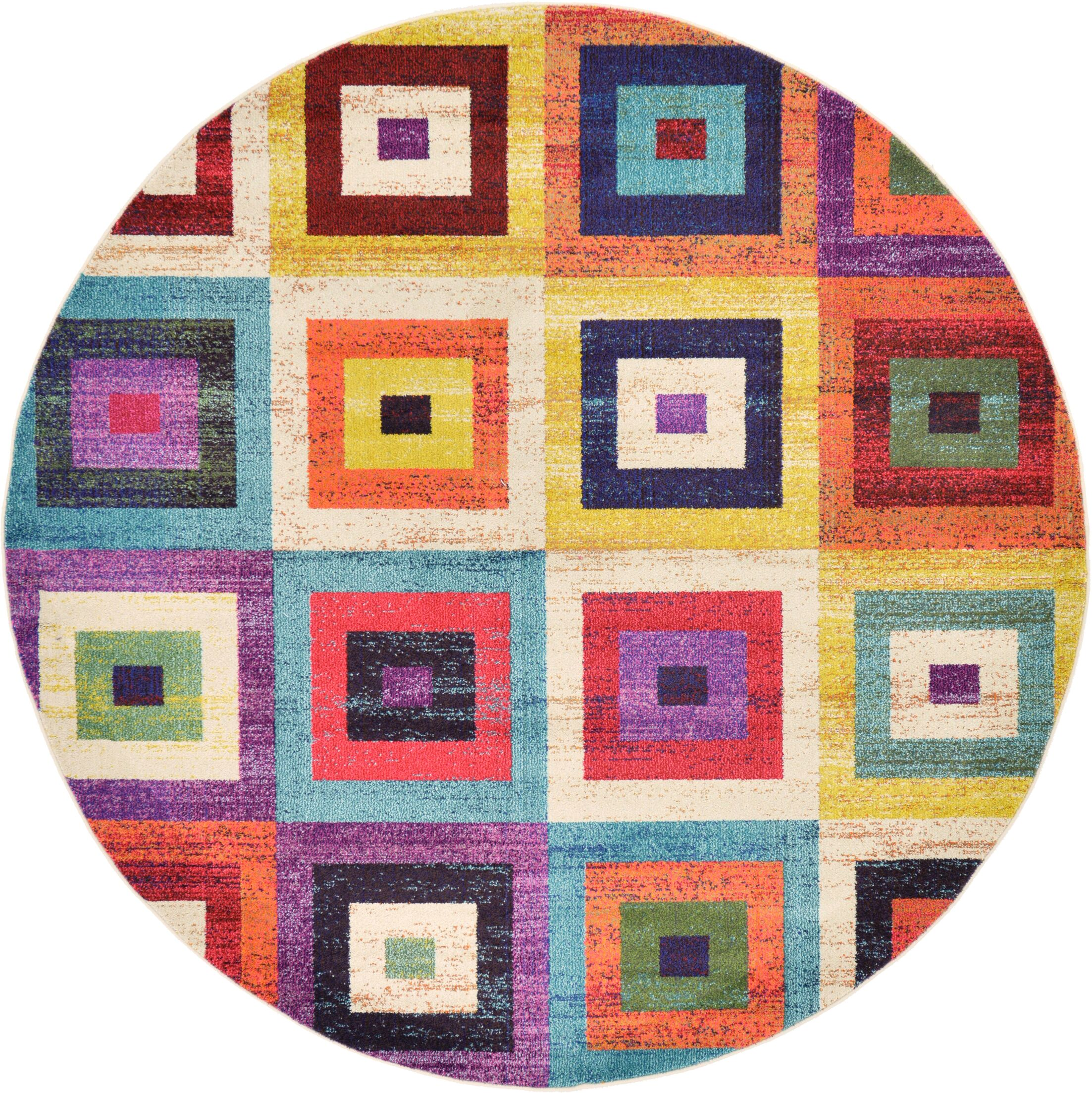Lionel Blue/Purple Area Rug Rug Size: Round 8'