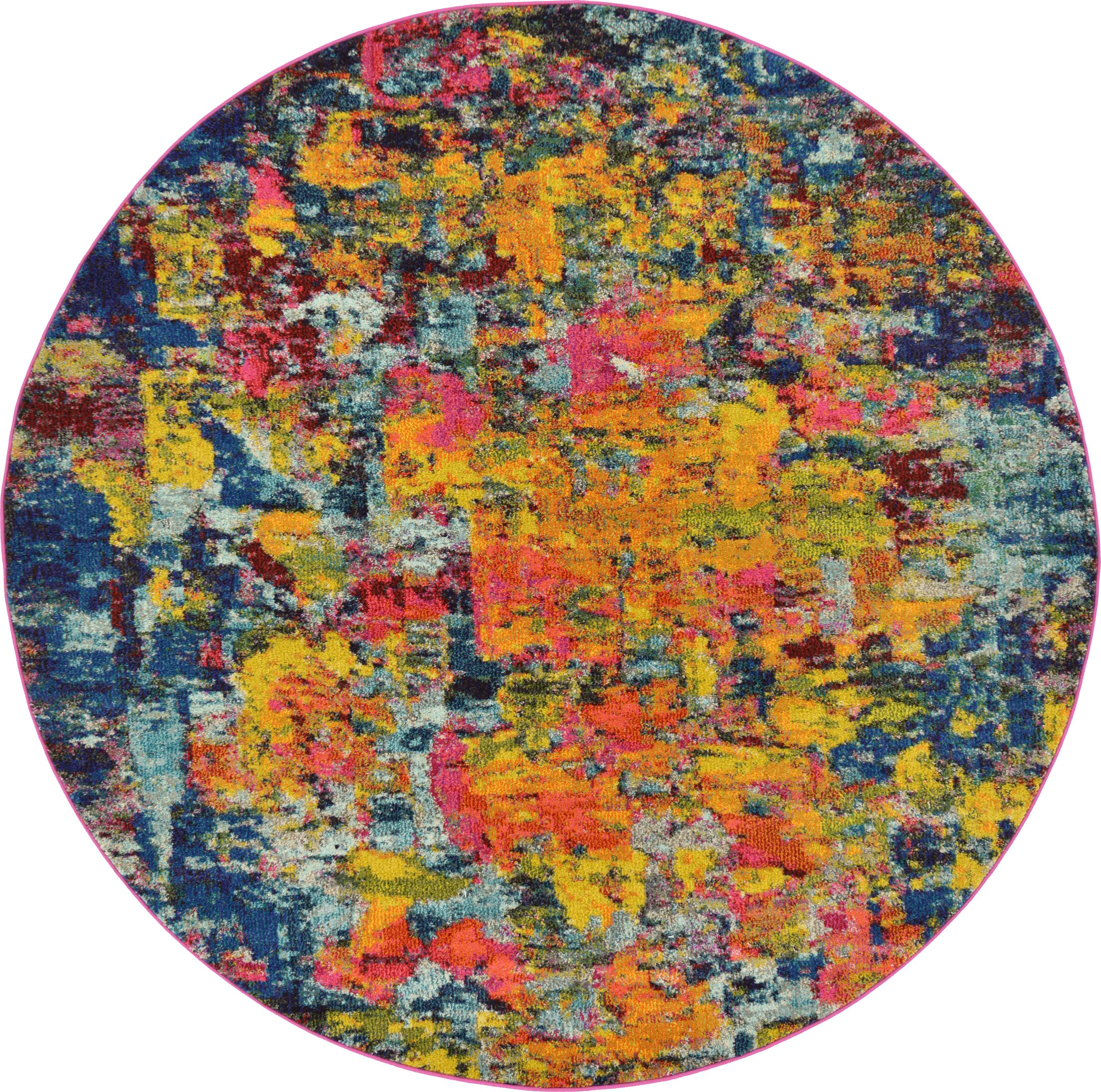 Fujii Pink/Yellow Area Rug Rug Size: Round 6'