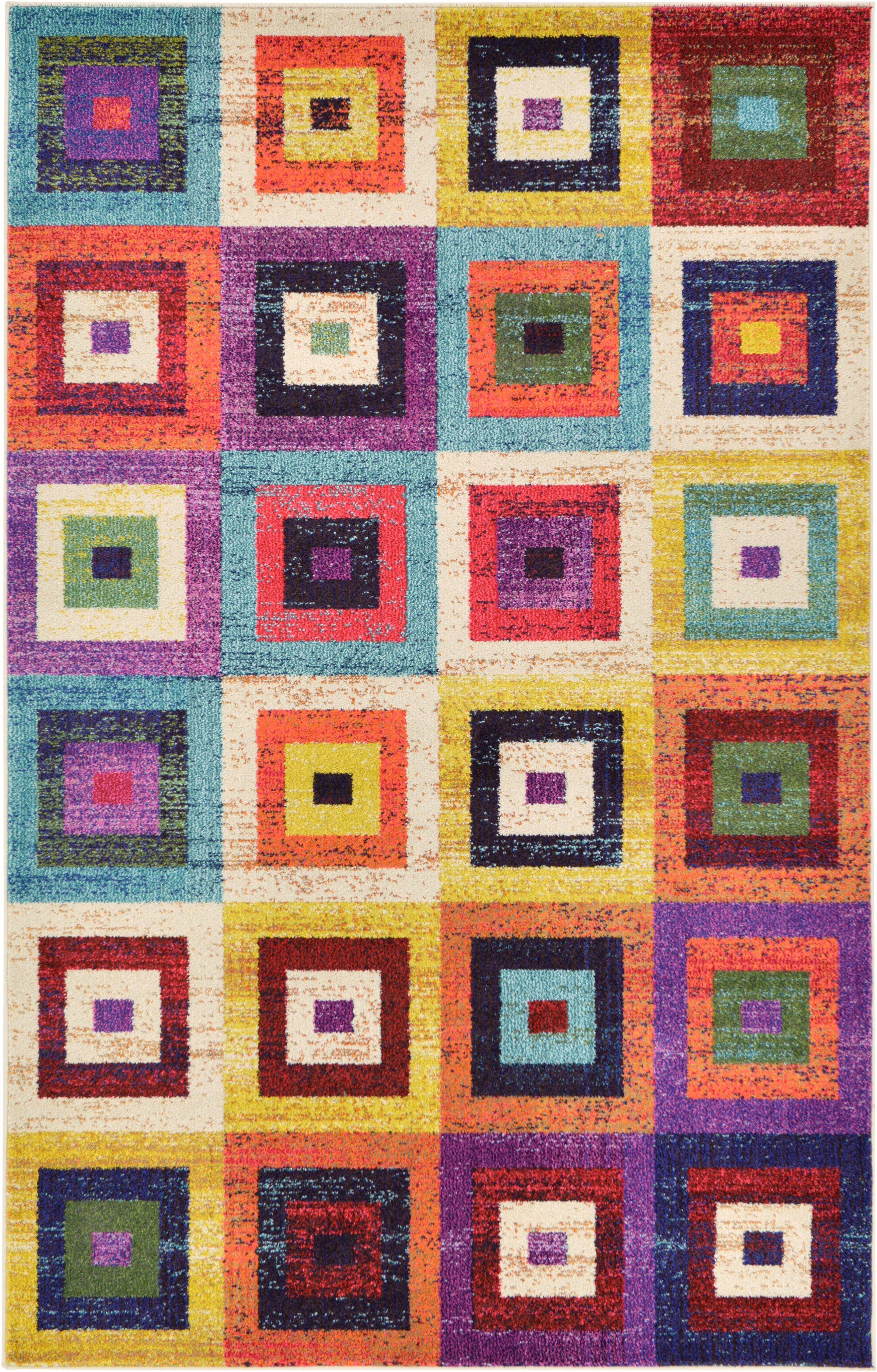 Lionel Blue/Purple Area Rug Rug Size: Rectangle 5' x 8'
