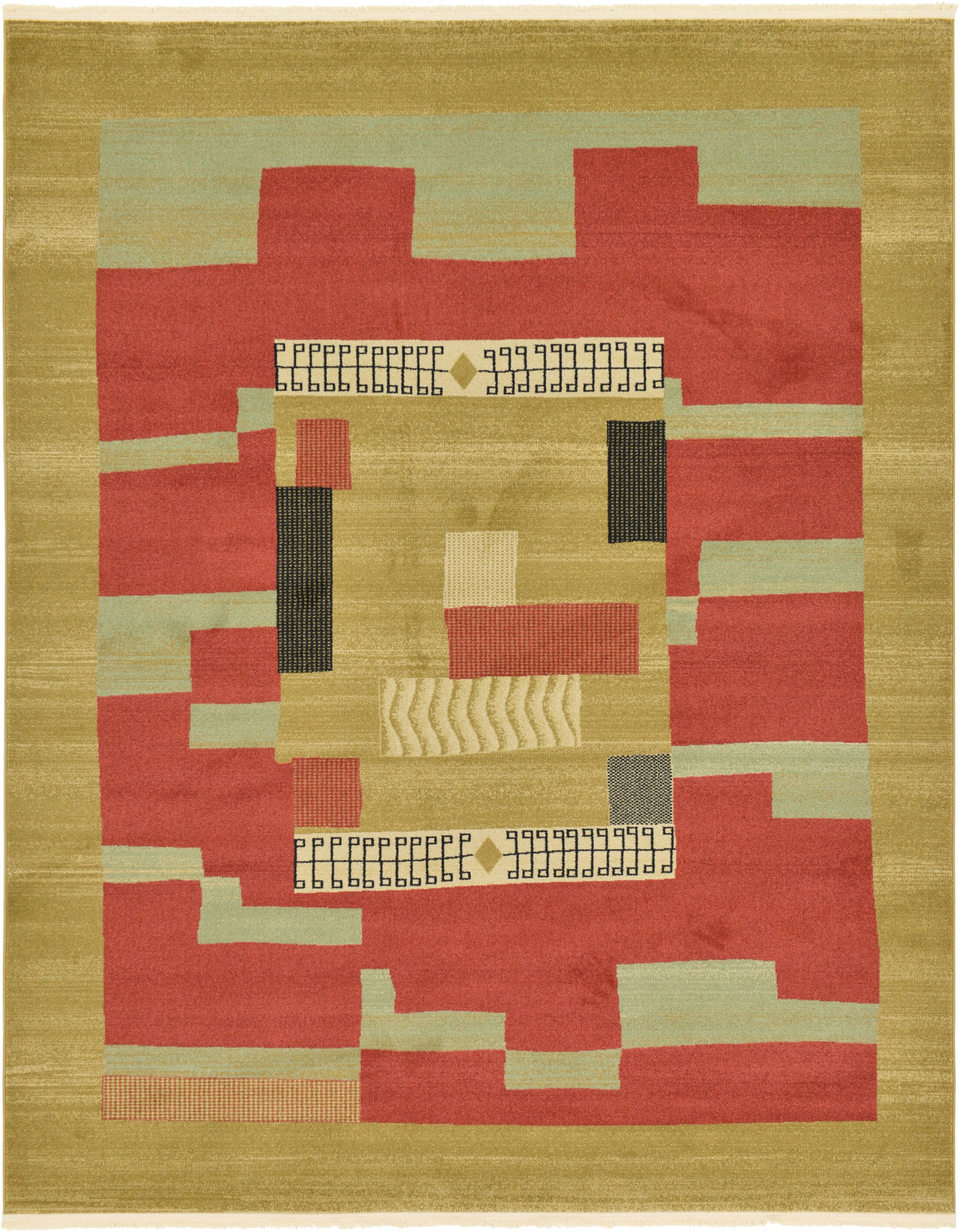 Jan Rust/Gold Area Rug Rug Size: Rectangle 8' x 10'
