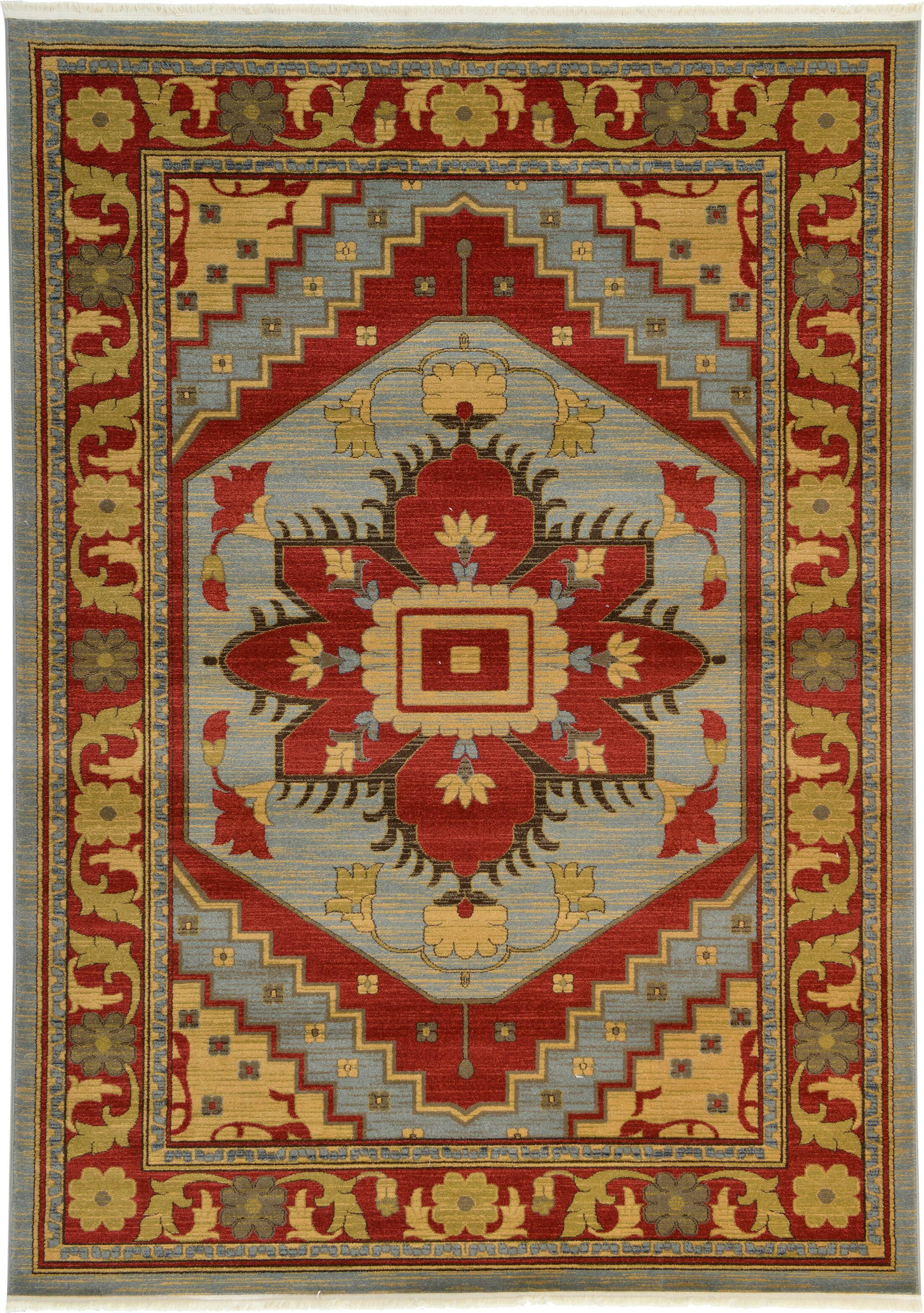 Jana Red Oriental Area Rug Rug Size: Rectangle 7' x 10'