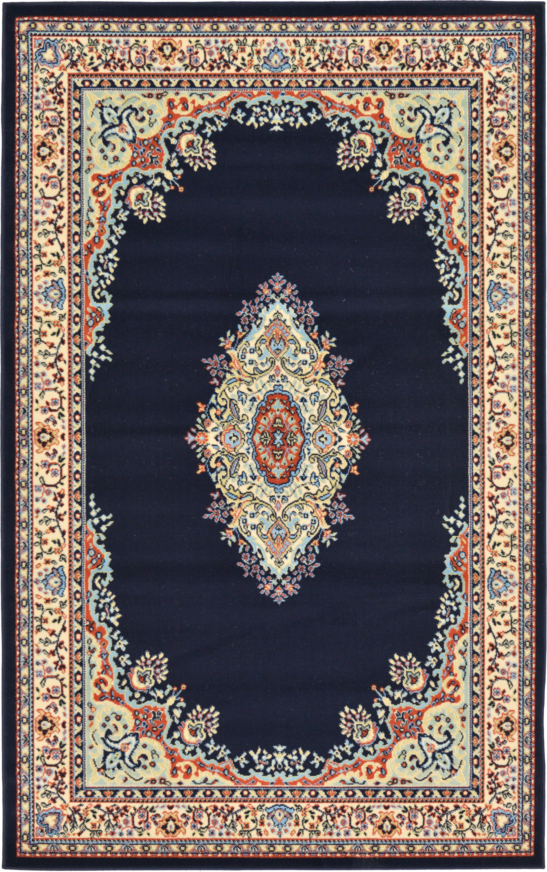 Astral Navy Blue Area Rug Rug Size: Rectangle 5' x 8'