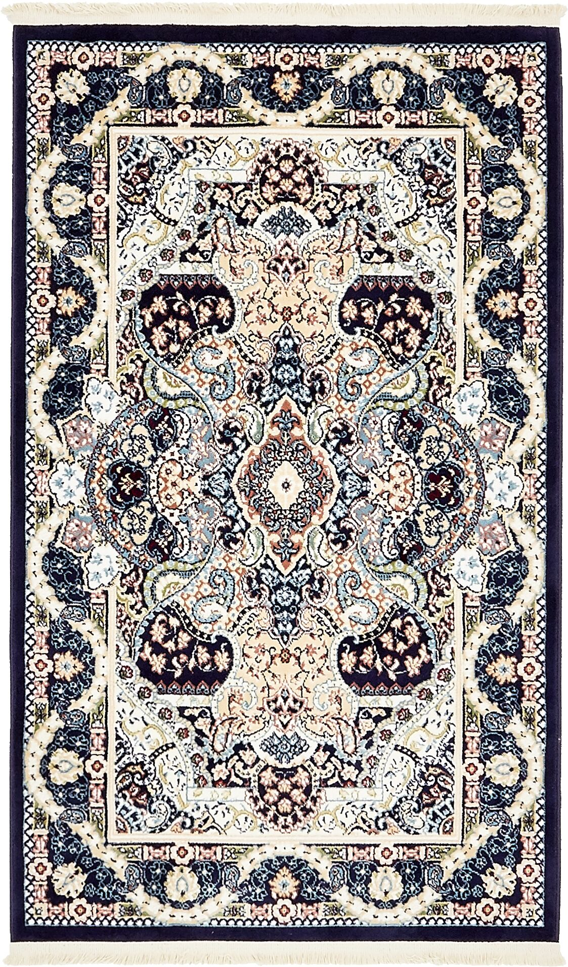 Quince Navy Blue/Ivory Area Rug Rug Size: Rectangle 3' x 5'