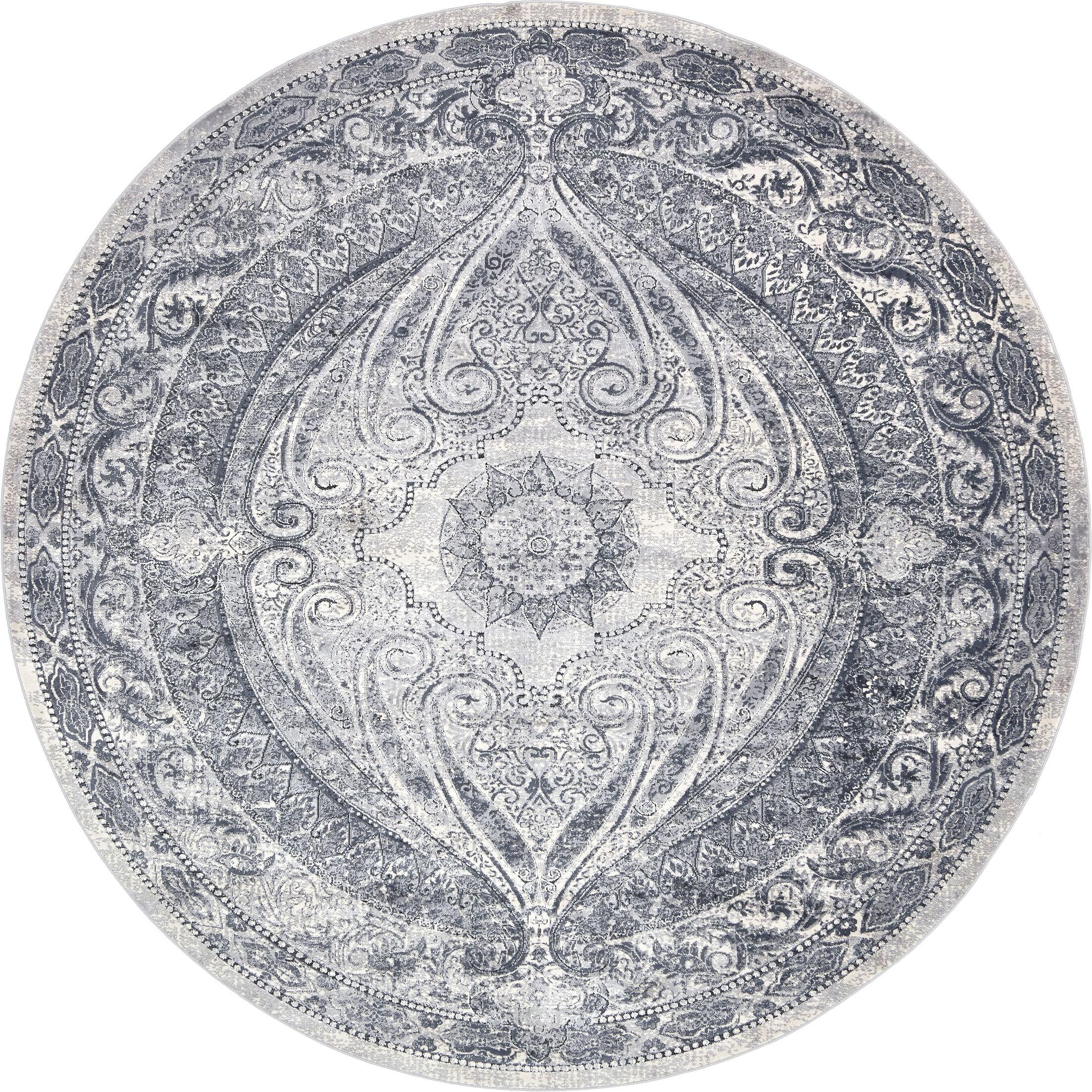 Abbeville Oriental Gray/Dark Blue Area Rug Rug Size: Round 8' x 8'