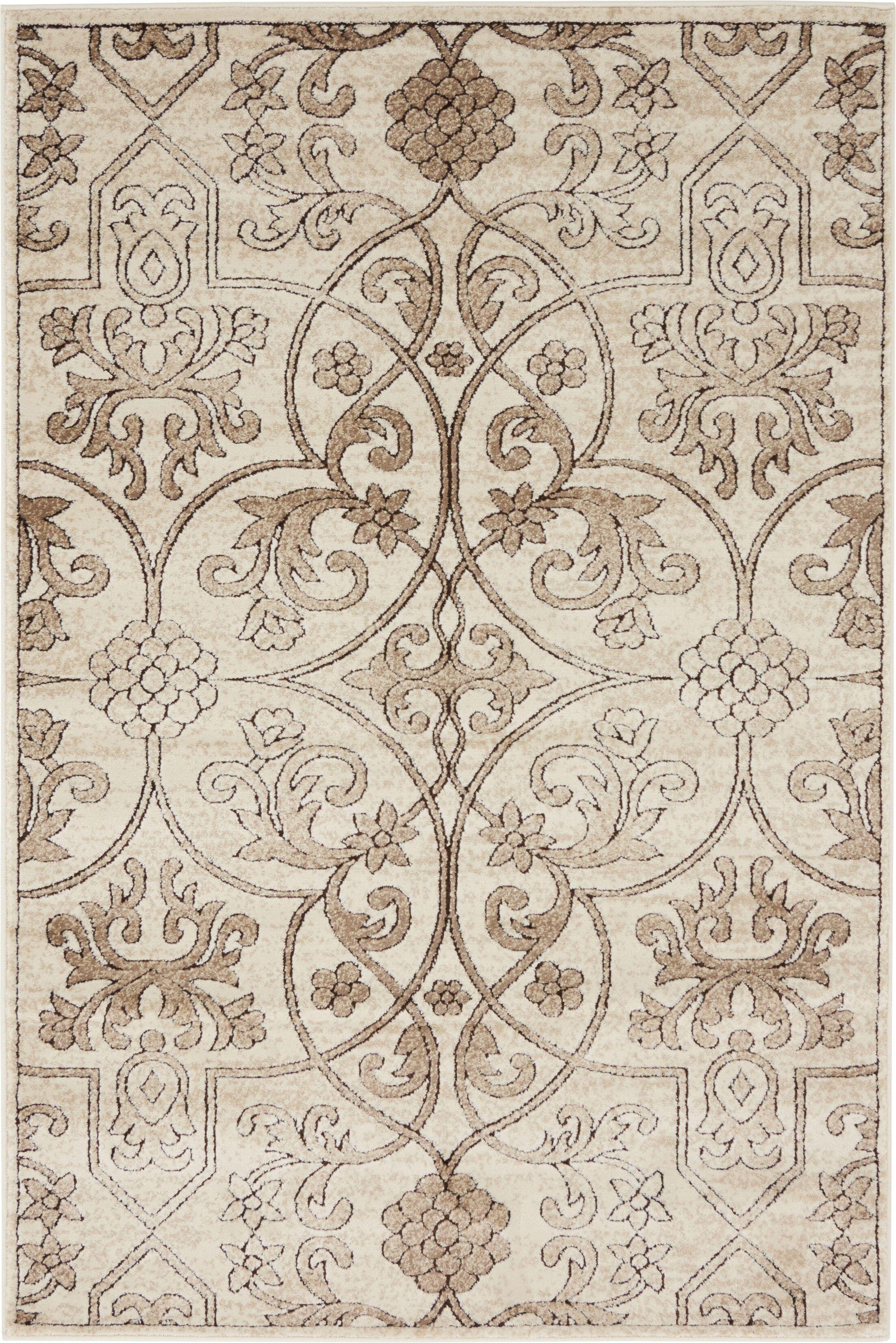 Mathieu Dark Beige/Brown Area Rug Rug Size: Rectangle 4' x 6'