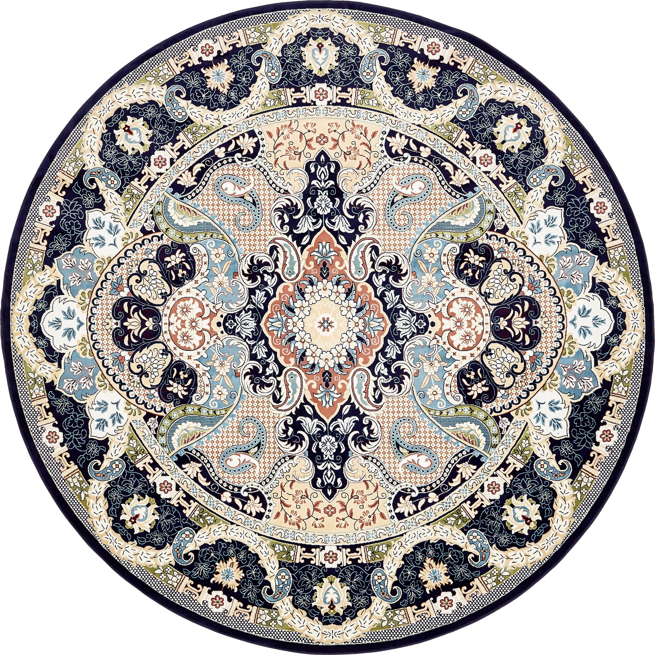 Quince Navy Blue/Ivory Area Rug Rug Size: Round 10'
