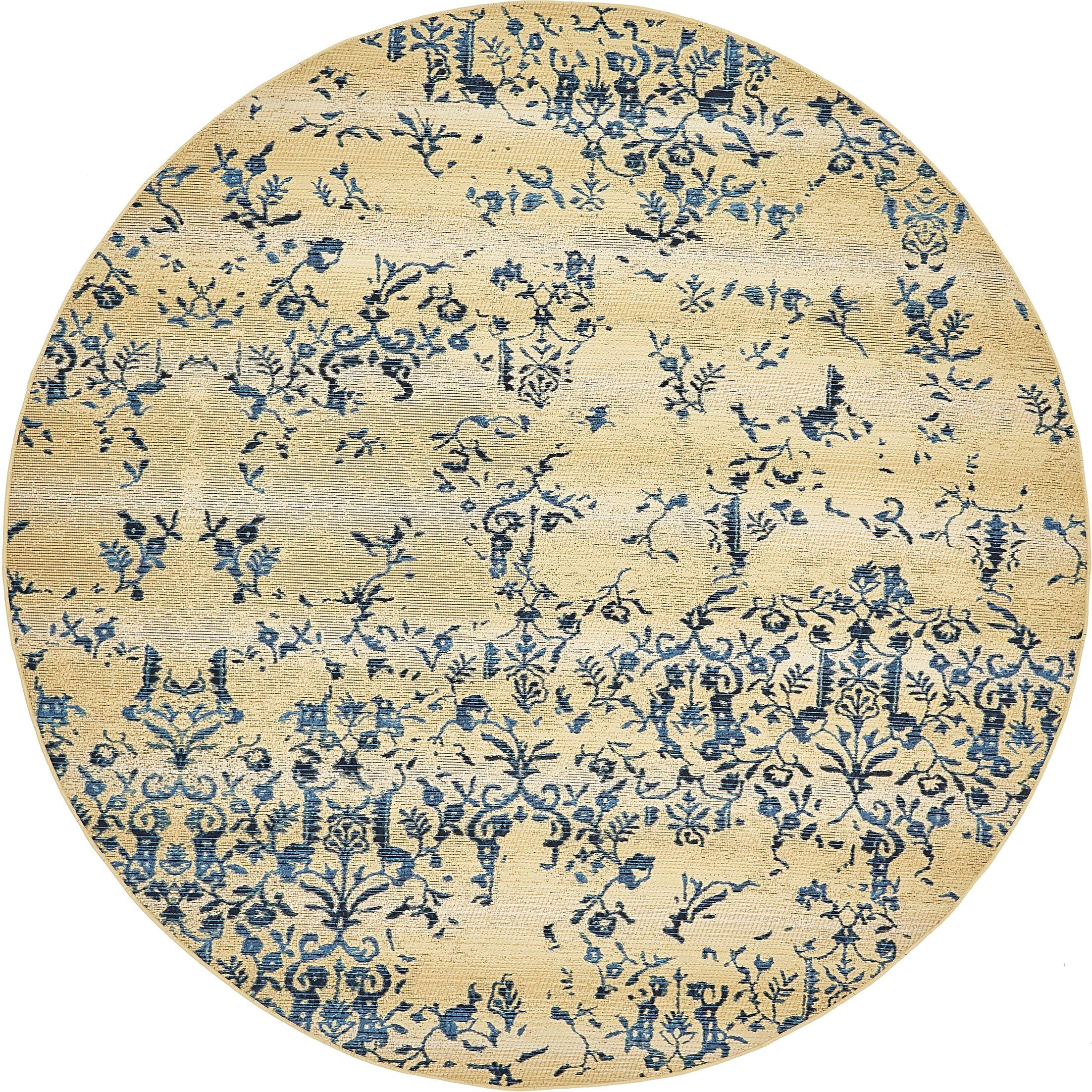 Eris Floral and Plants Beige Indoor/Outdoor Area Rug Rug Size: Round 8'