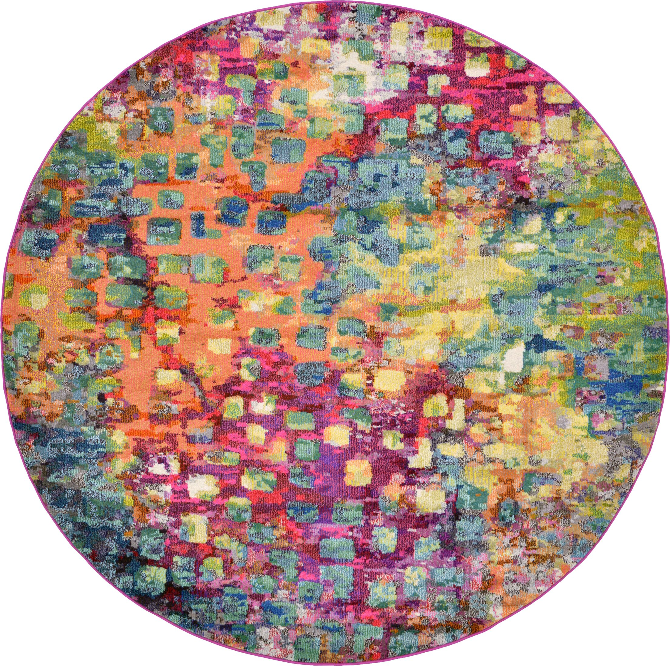 Massaoud Pink/Green Area Rug Rug Size: Round 8'