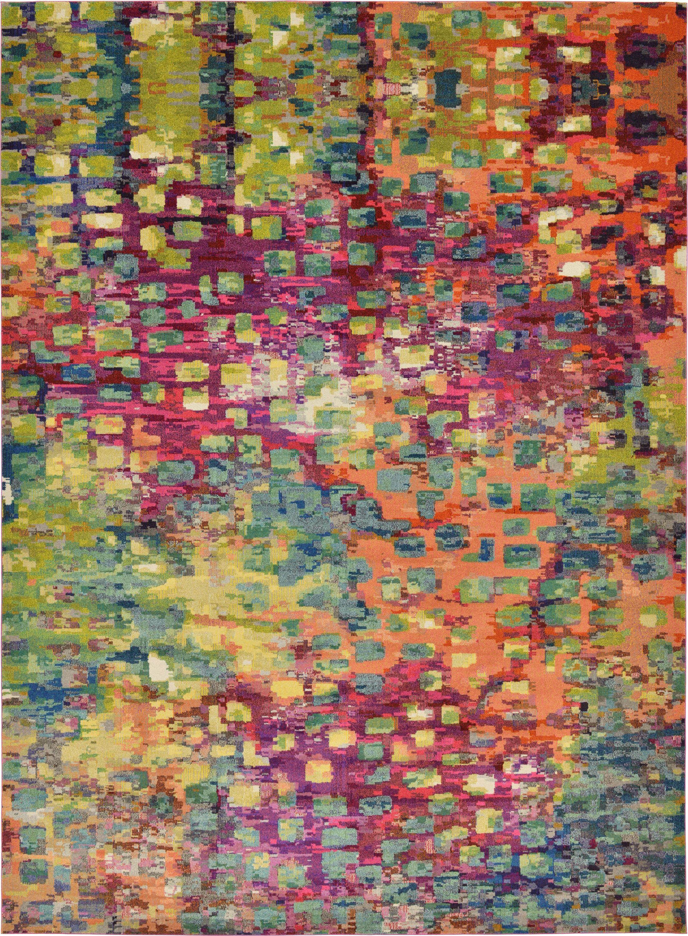Massaoud Pink/Green Area Rug Rug Size: Rectangle 13' x 18'