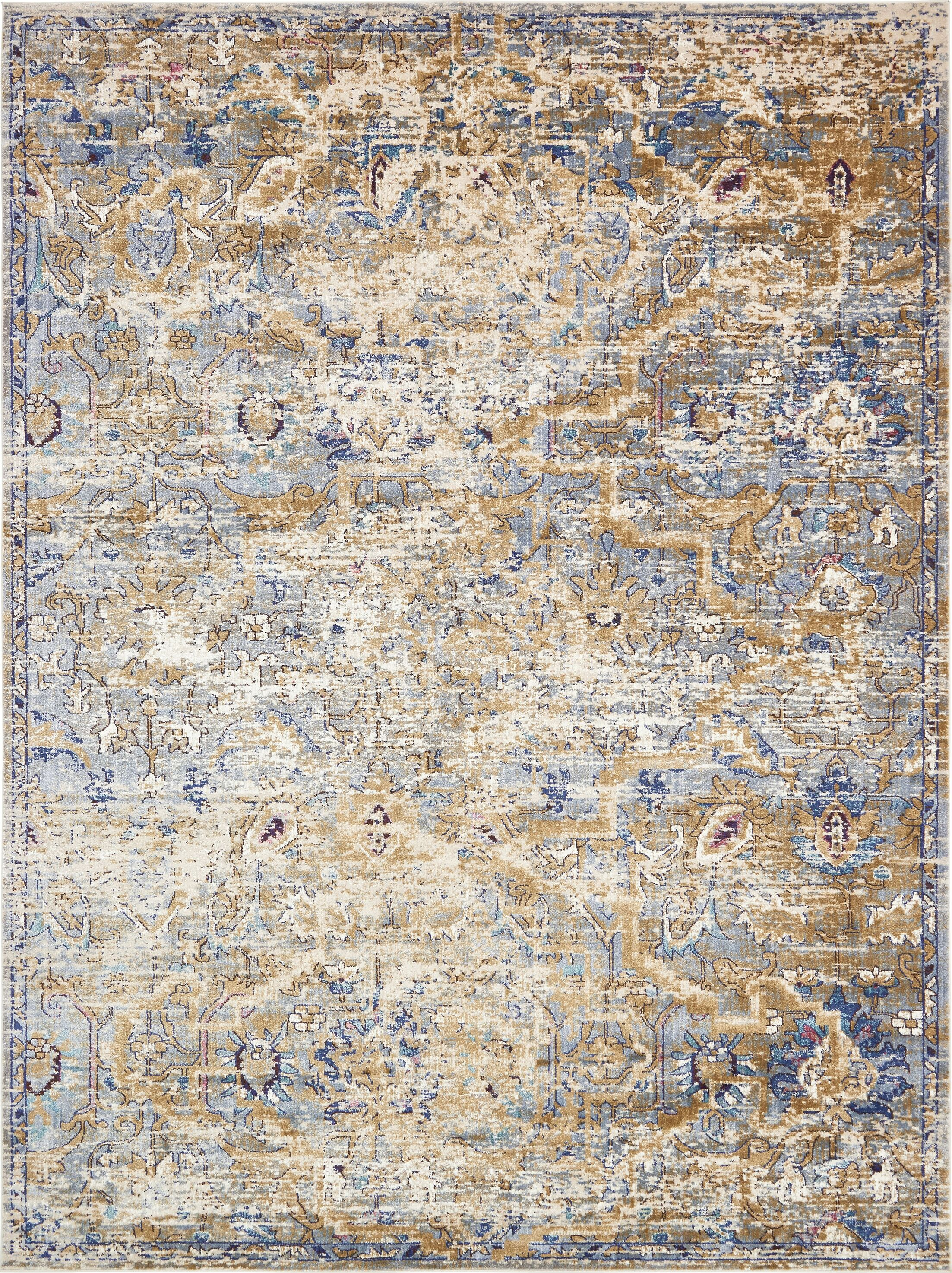 Koury Light Blue/Tan Area Rug Rug Size: Rectangle 10'6