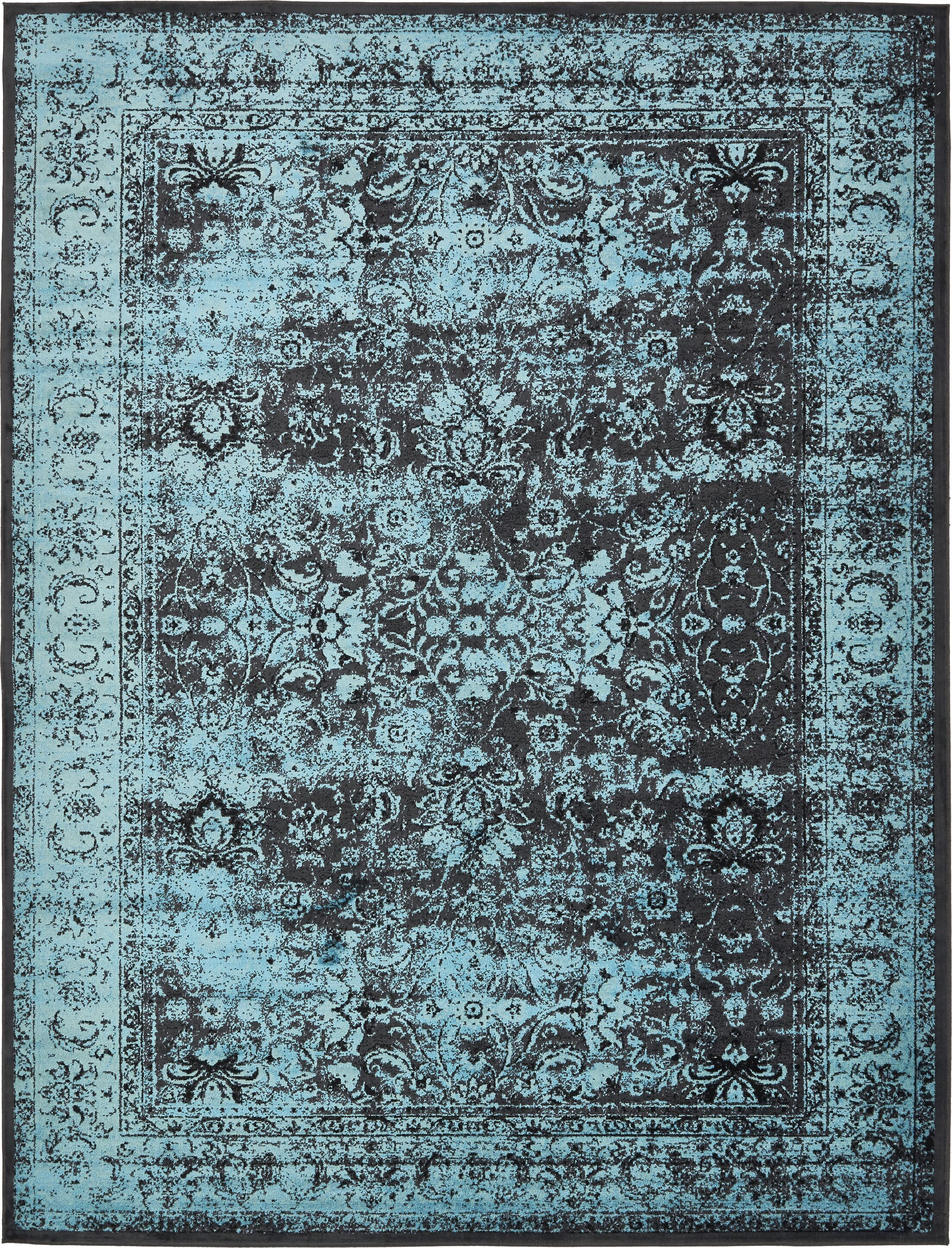 Neuilly Blue/Black Area Rug Rug Size: 10' x 13'