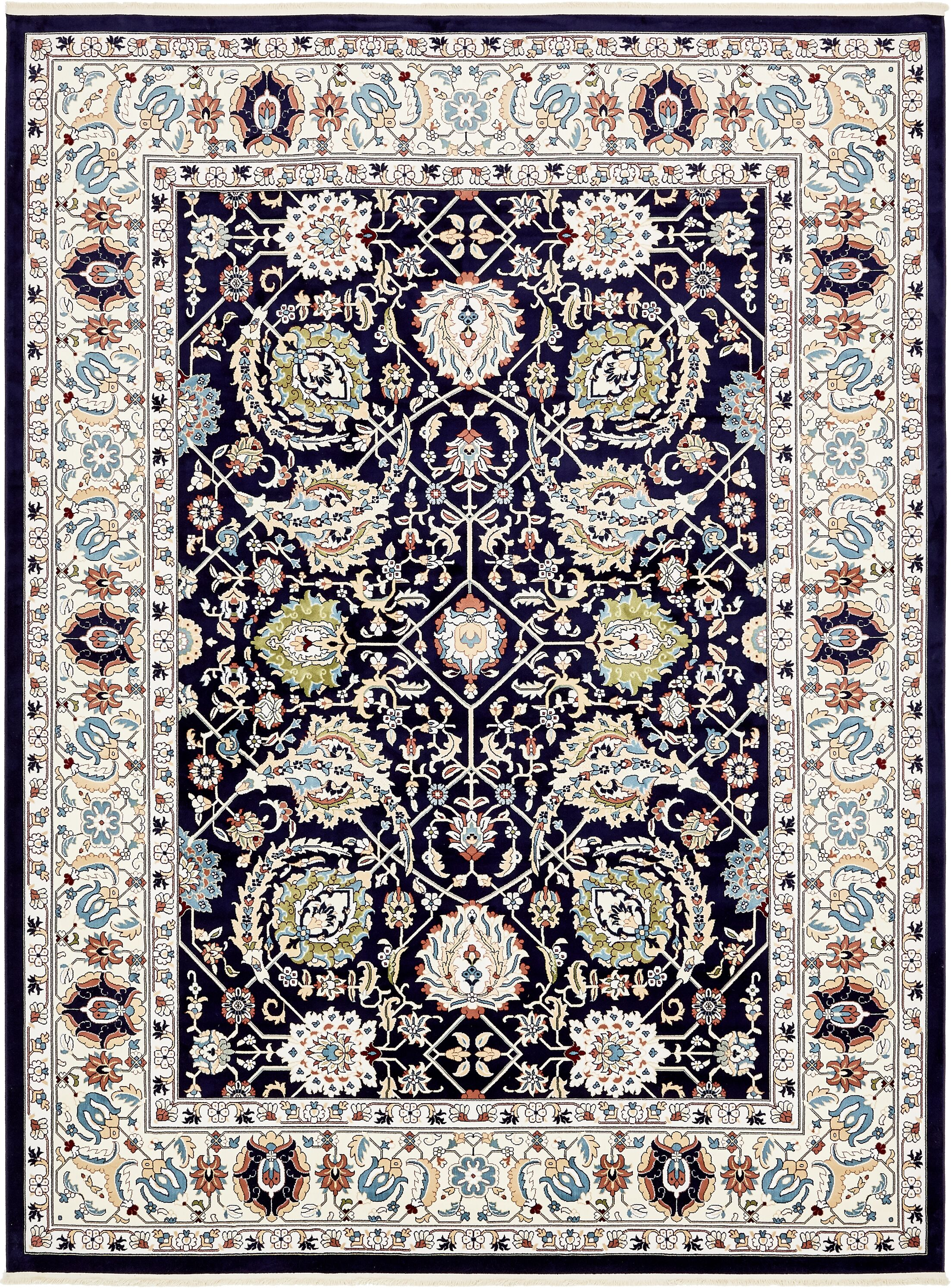 Quince Navy Blue/Tan Area Rug Rug Size: Rectangle 13' x 19'8