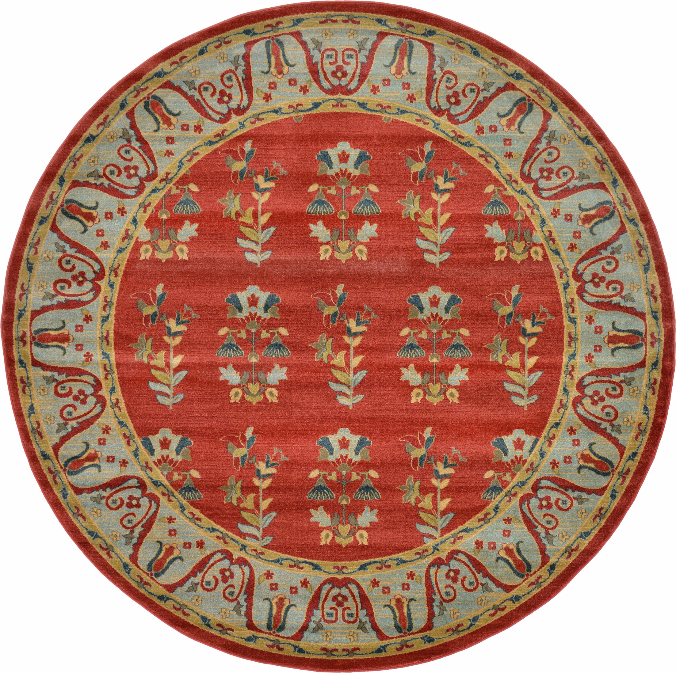 Foret Noire Red Area Rug Rug Size: Round 8'