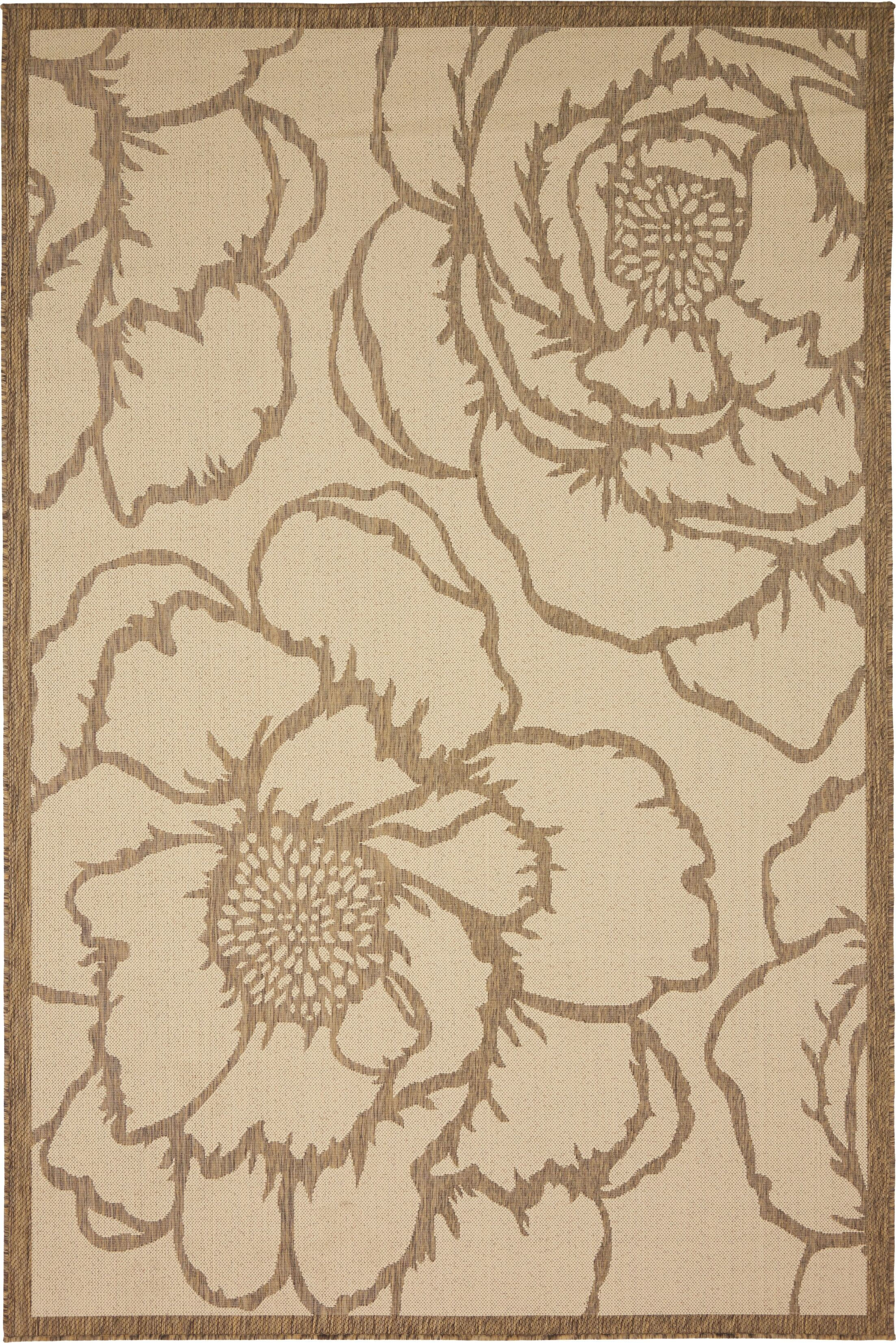 Souliere Beige Outdoor Area Rug Rug Size: Rectangle 6' x 9'