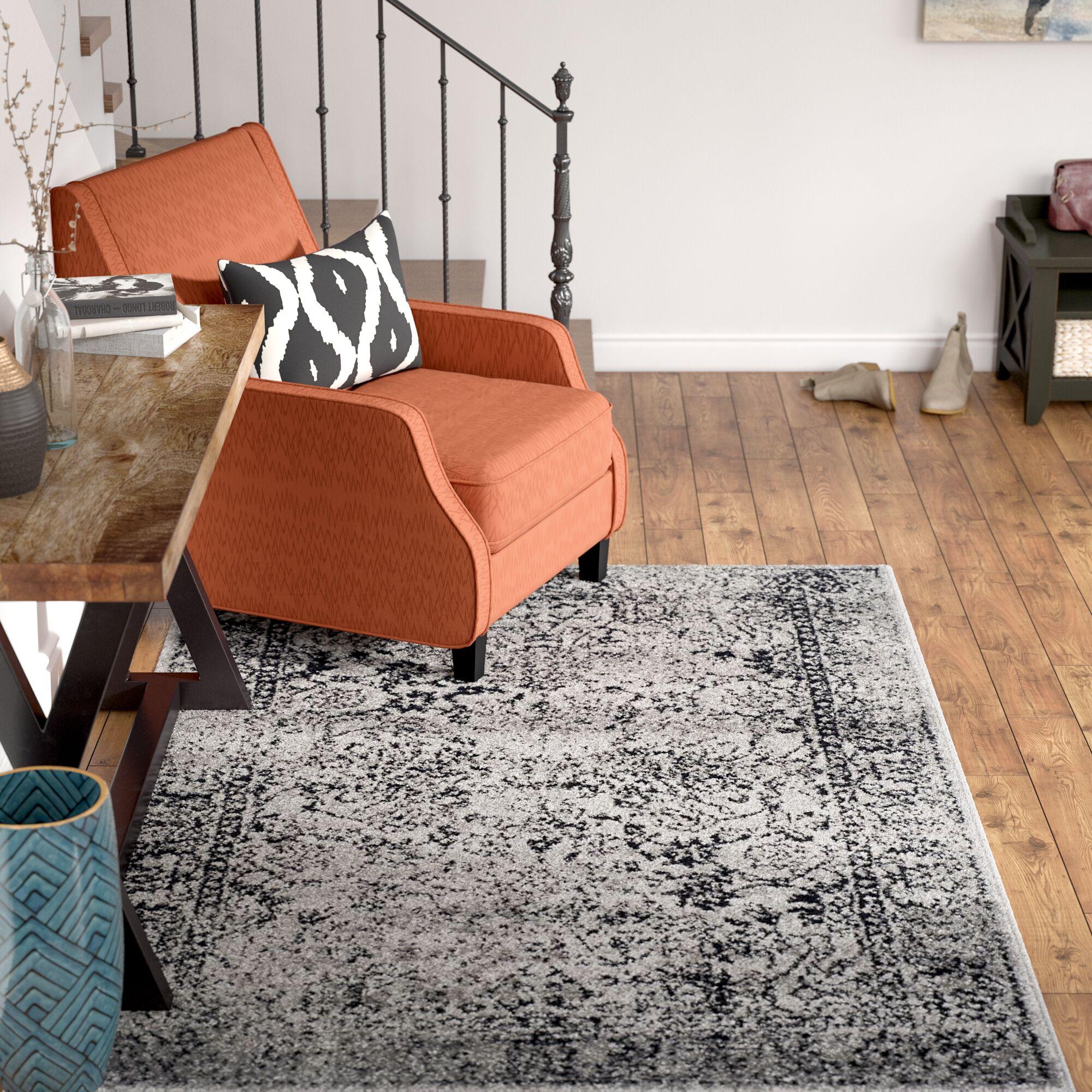 Josie Gray/Black Area Rug Rug Size: Rectangle 10' x 14'