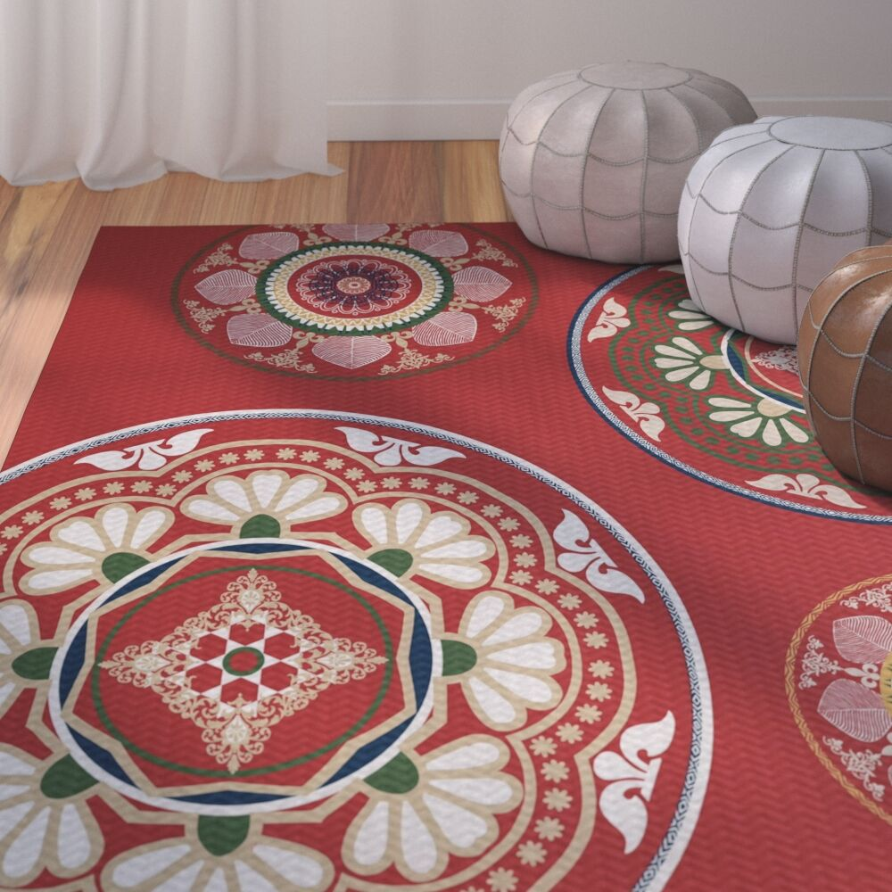 Soluri Red Area Rug Rug Size: Rectangle 3' x 5'