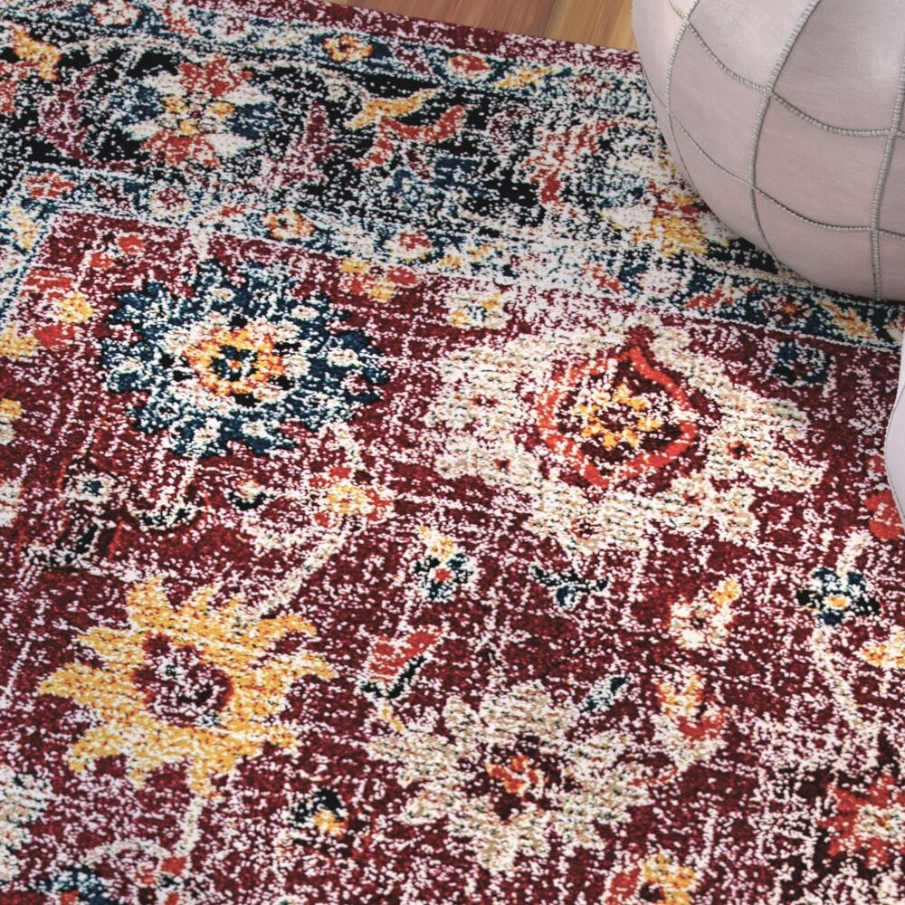 Gina Red/Gray/Blue Area Rug Rug Size: Rectangle 3'11