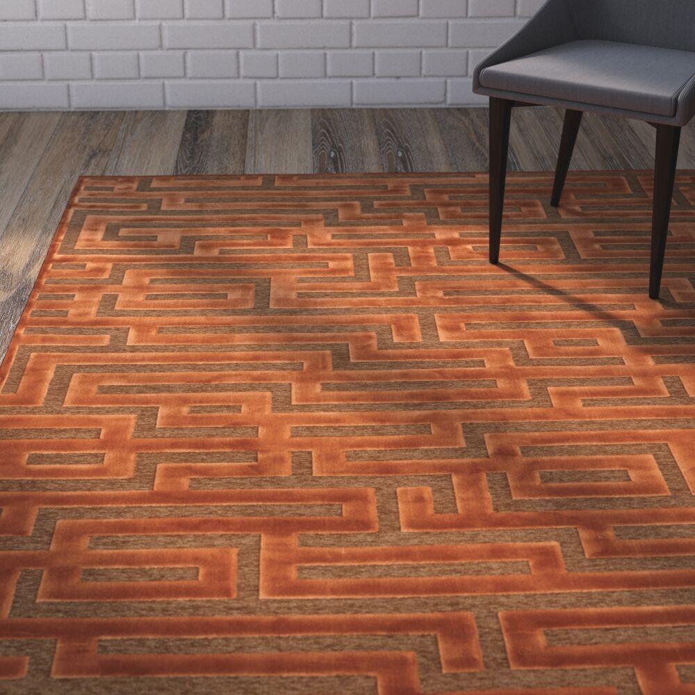 Teague Rust/Medium Brown Maze Area Rug Rug Size: 5'3